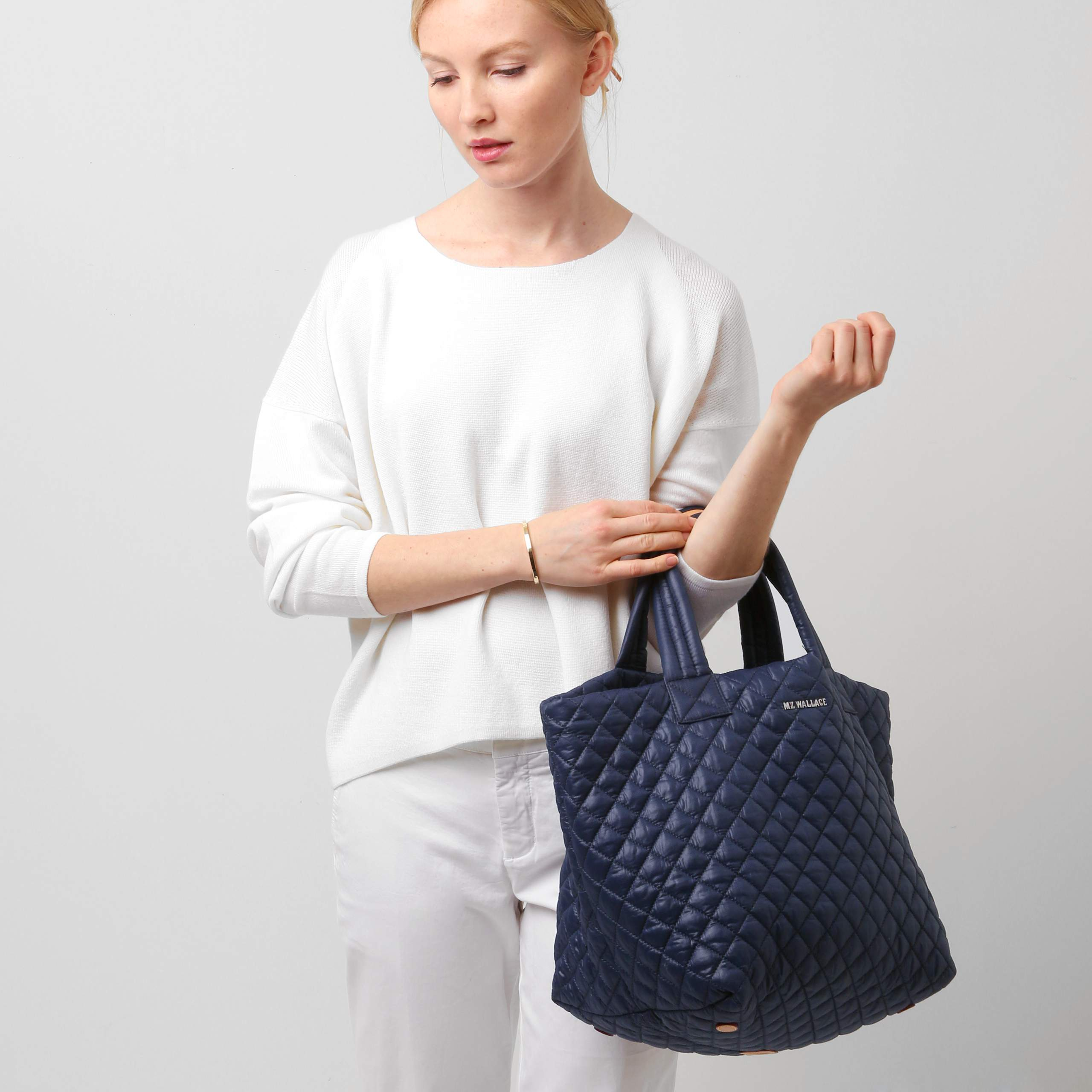 Lyst Mz Wallace Navy Small Metro Tote In Blue