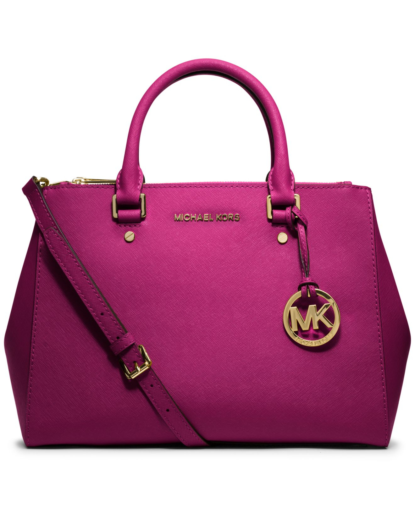 michael kors michael sutton medium satchel in pink lyst. Black Bedroom Furniture Sets. Home Design Ideas
