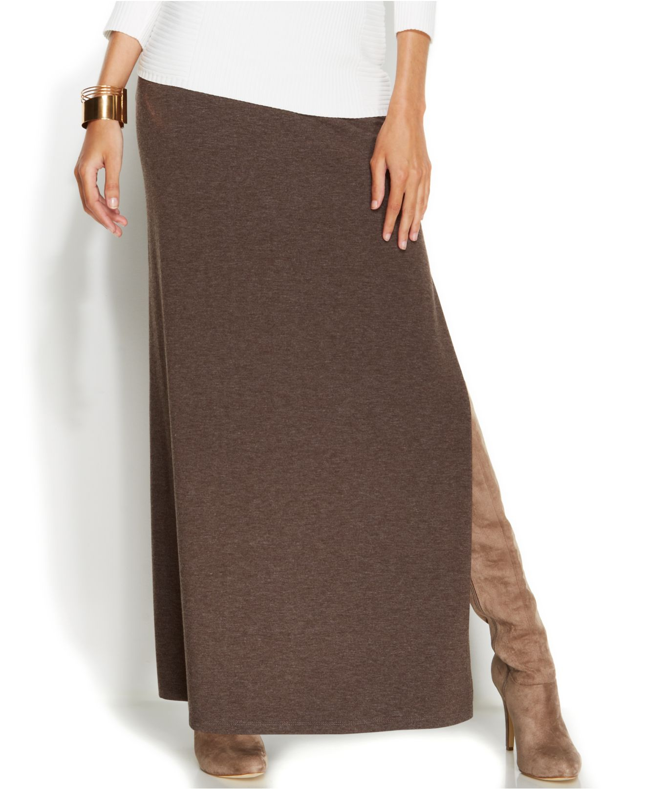 inc international concepts maxi skirt in brown
