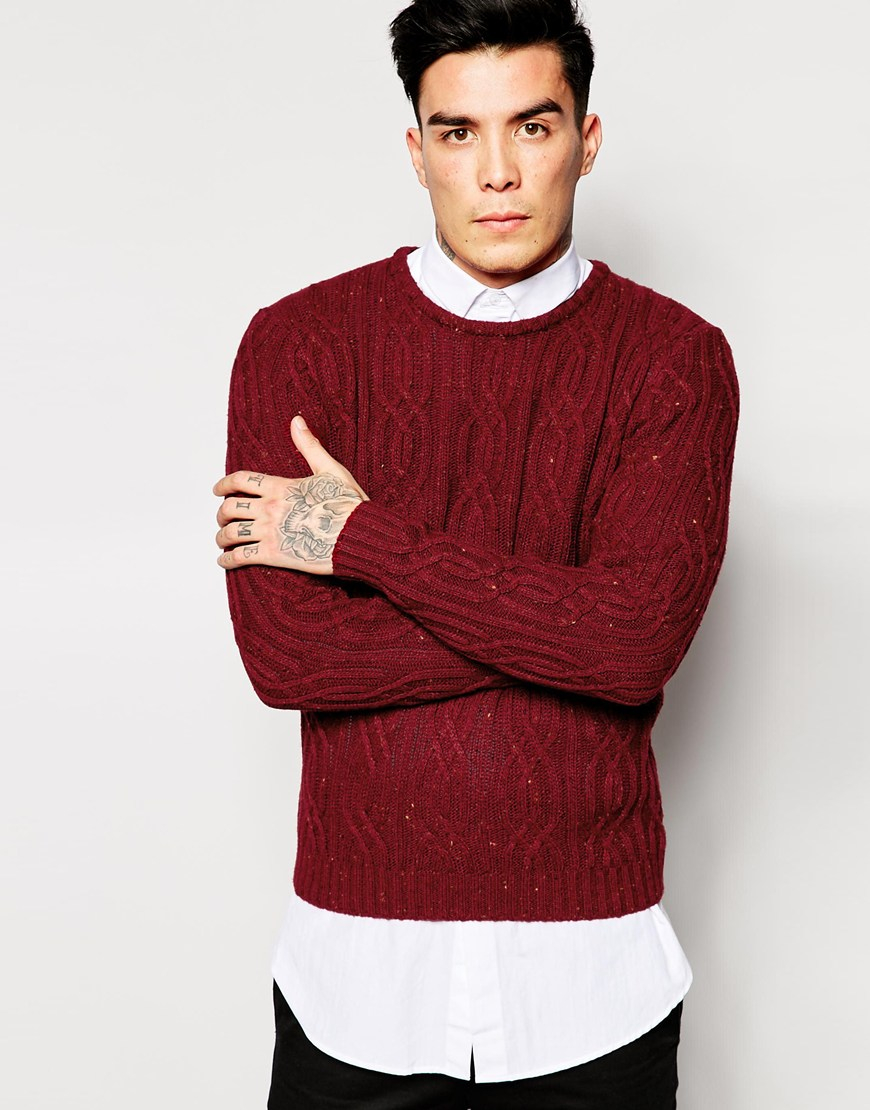 Mens Red Cable Sweater Baggage Clothing