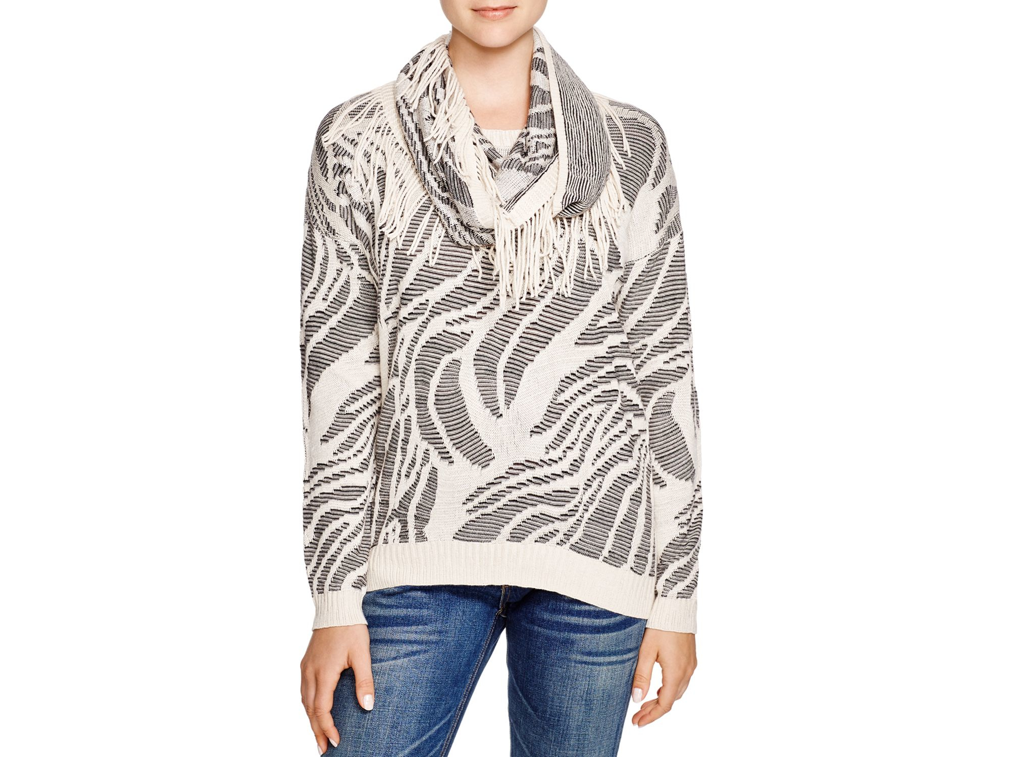 Lyst Niczoe Oasis Jacquard Scarf Sweater In Gray
