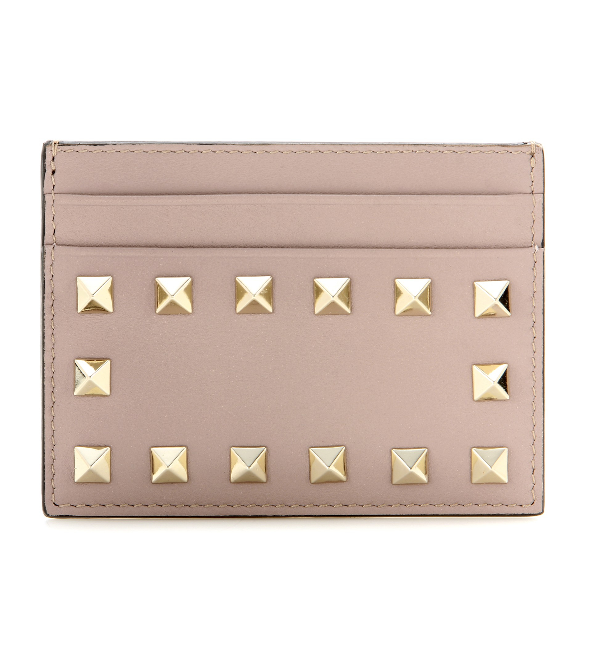 Lyst Valentino Rockstud Leather Card Holder In Natural