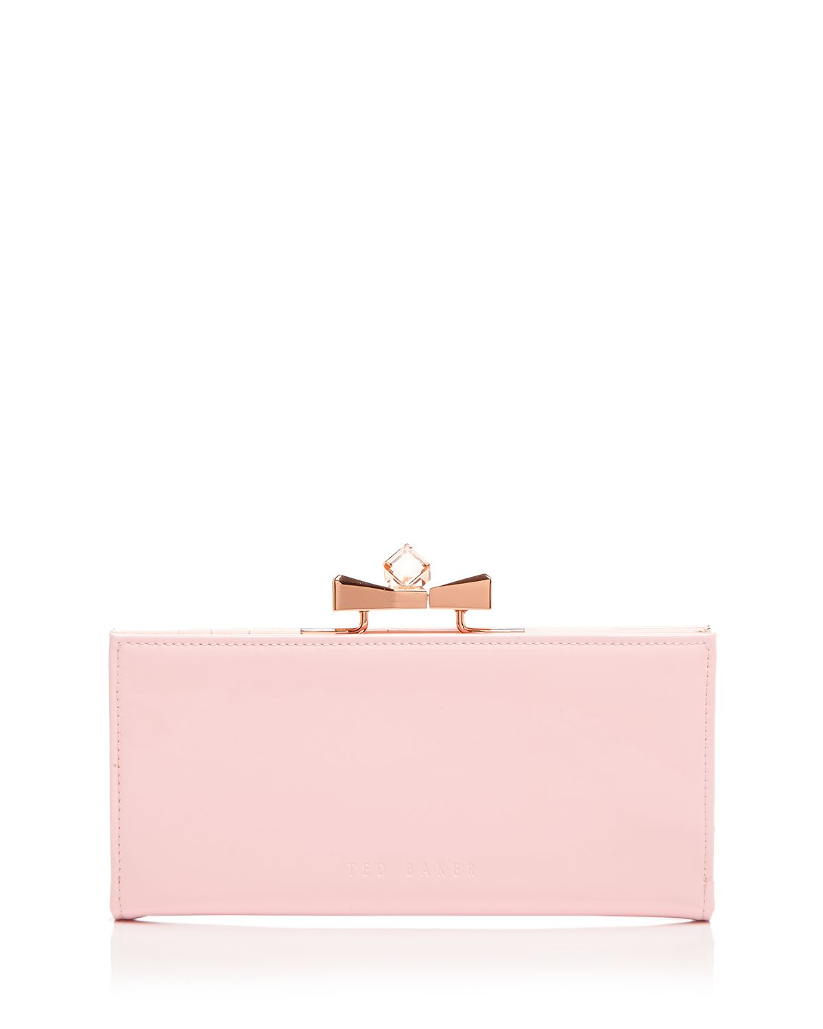 3a33789280337 Lyst - Ted Baker Wallet - Franny Patent Bow Popper Matinee in Natural