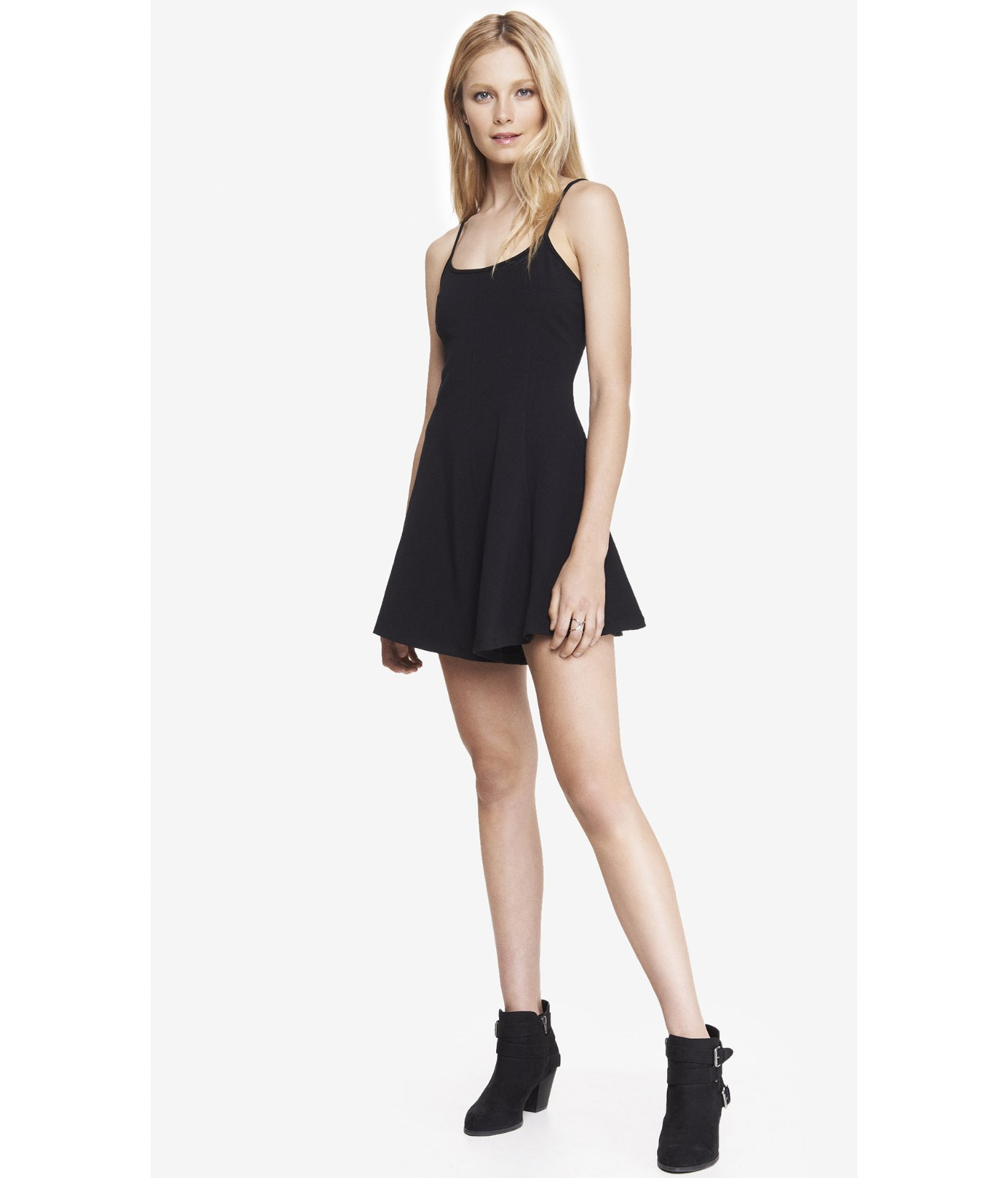 Express Black Stretch Cotton Skater Romper in Black | Lyst