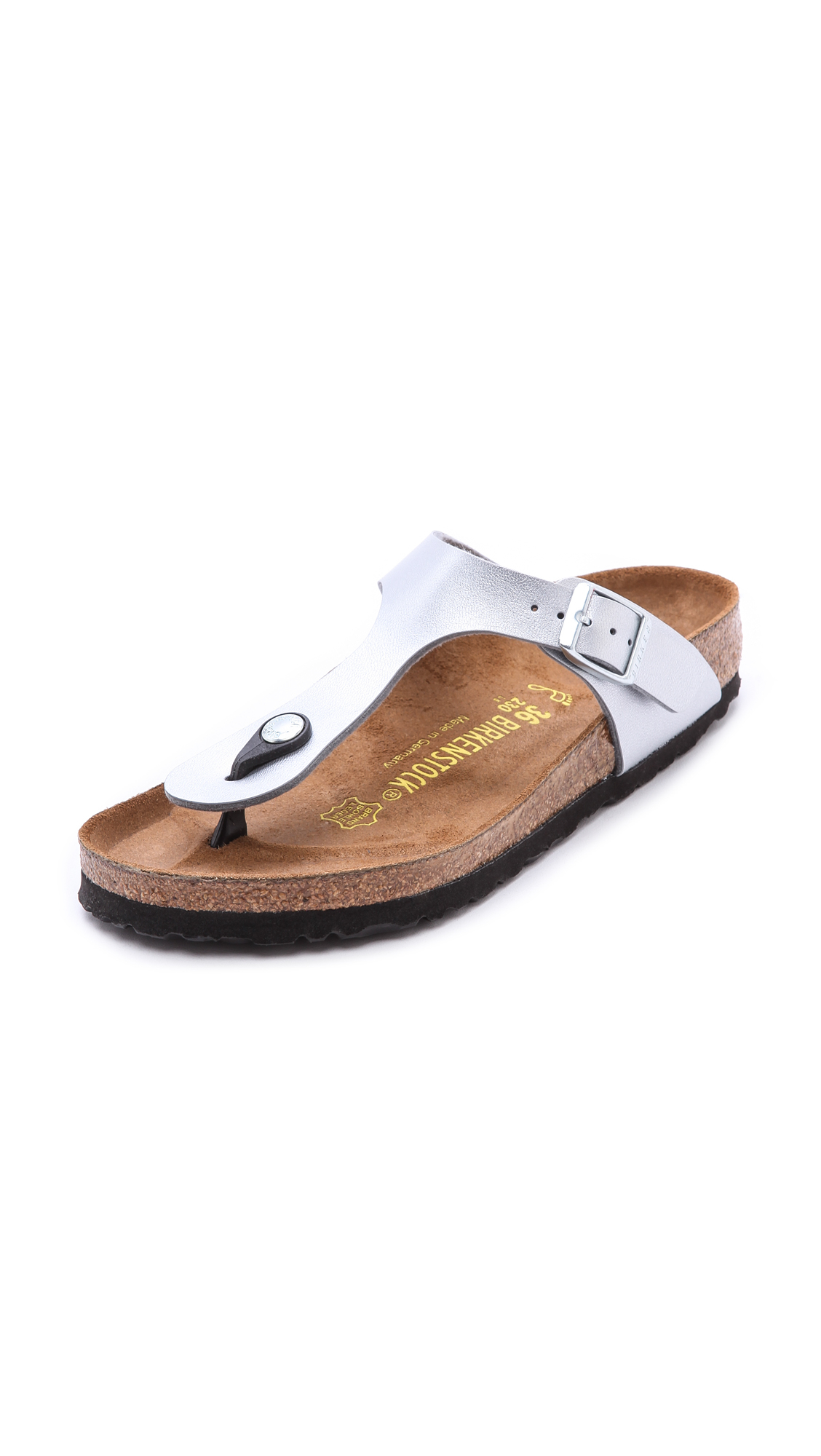 45bfdfc3964963 Lyst - Birkenstock Gizeh Thong Sandals - Silver in Metallic