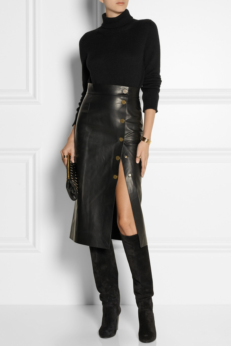 tamara mellon doublefaced leather wrap skirt in black lyst