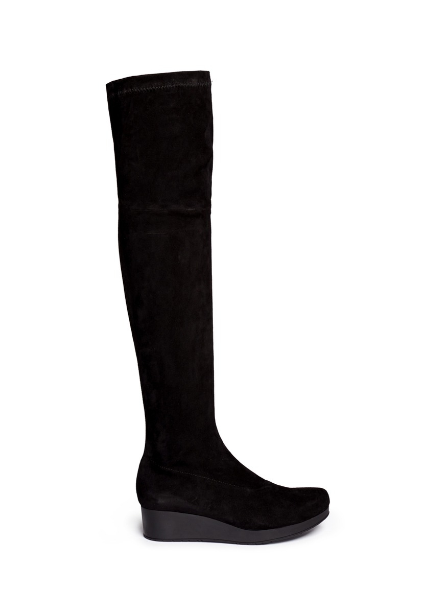 robert clergerie natuj stretch suede wedge thigh high