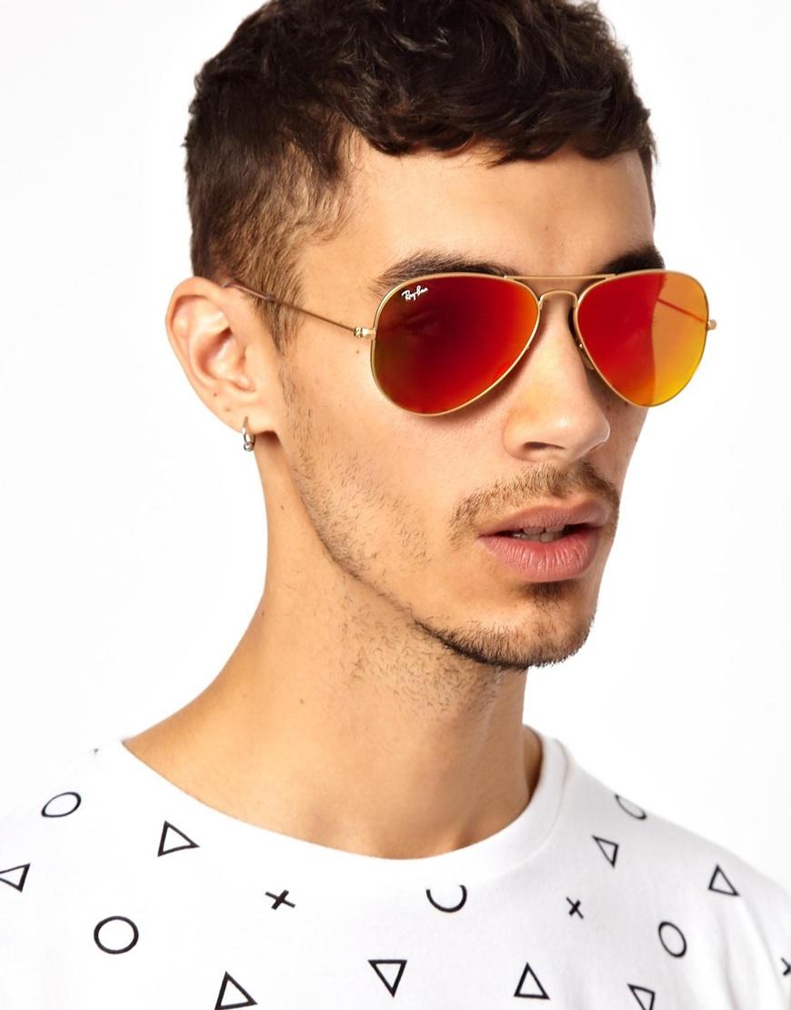 0193404ca513 ... shop lyst ray ban flash lens aviator sunglasses in metallic for 351ac  184ad