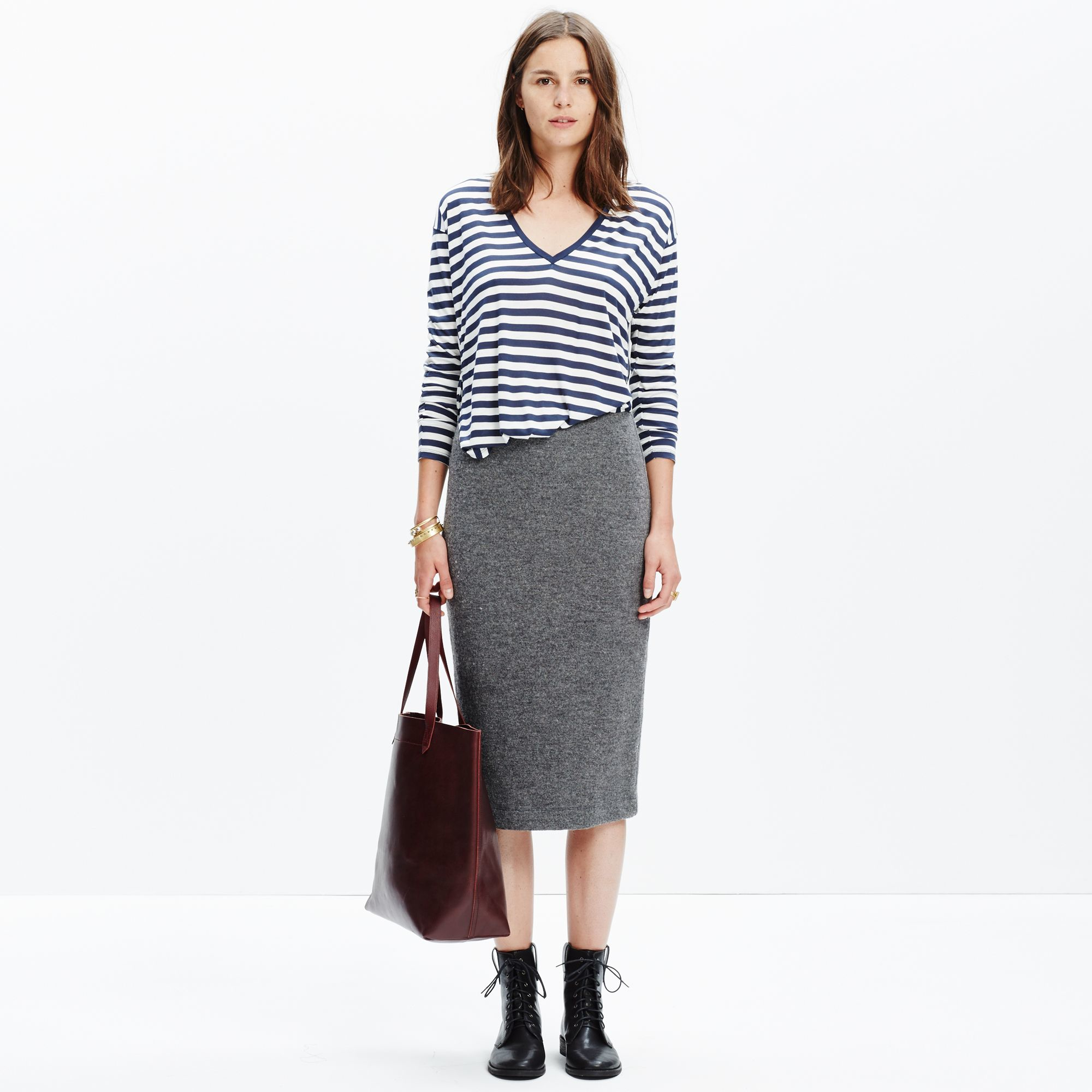 Madewell Pillar Midi Skirt in Gray | Lyst