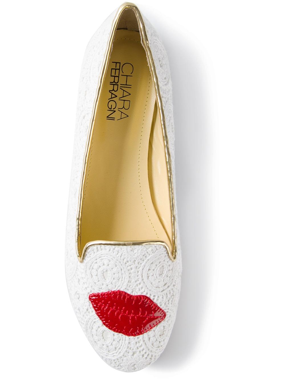 958e2a82a12 Chiara Ferragni Lipstick Loafers in White - Lyst