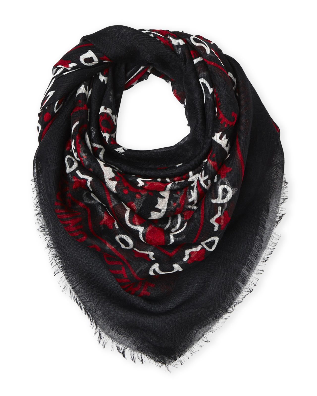 moschino printed square scarf in black black lyst