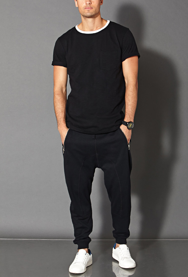 Forever 21 Cotton-blend Joggers In Black For Men
