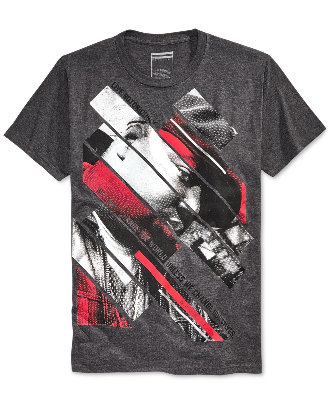 Sean john men 39 s big slashes t shirt in gray for men for Sean john t shirts for mens