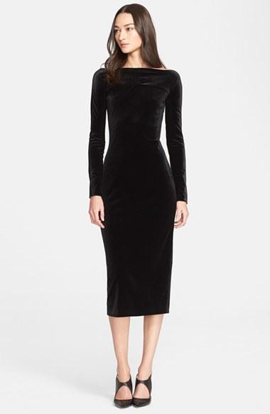Armani Velvet Midi Sheath Dress in Black - Lyst