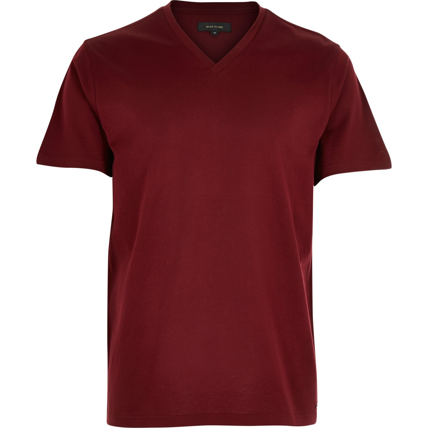 River island dark red premium v neck t shirt in red for for The red t shirt company