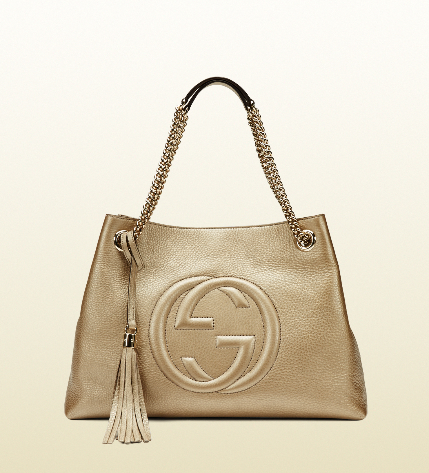 832fe806fe7a Lyst - Gucci Soho Metallic Leather Shoulder Bag in Natural