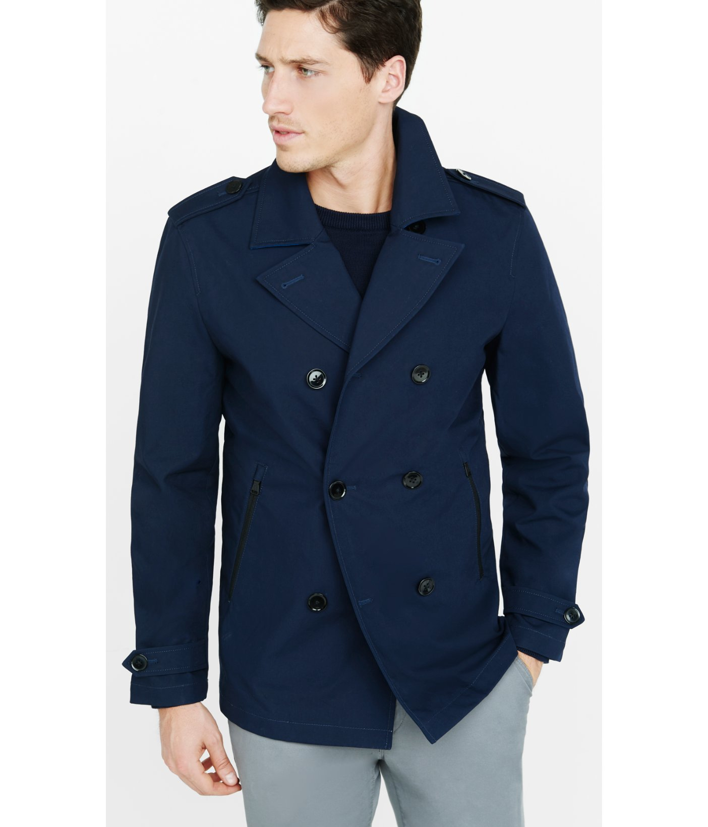 Express Navy Cotton Peacoat in Blue for Men | Lyst