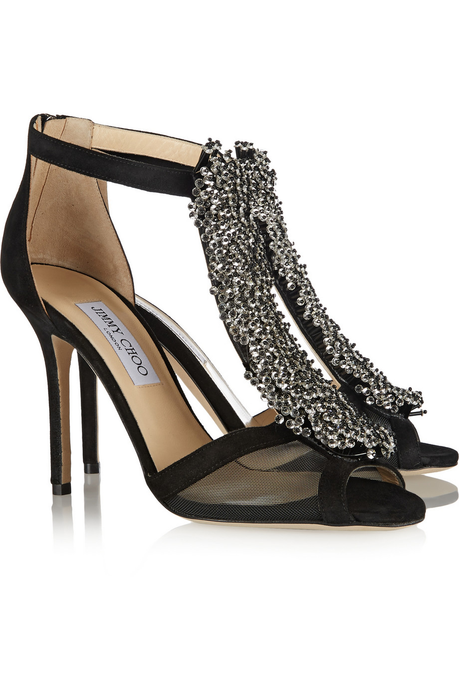 Lyst Jimmy Choo Feline Bead Embellished Suede And Mesh