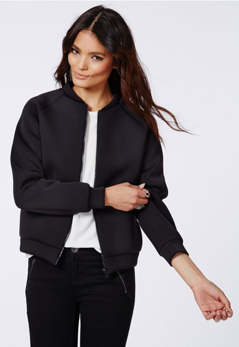 Missguided Veanne Floral Back Neoprene Bomber Jacket | Lyst