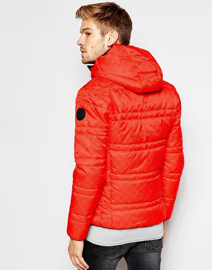 Replay Quilted Jacket Duck Free Hooded in Red for Men | Lyst : red quilted jacket mens - Adamdwight.com