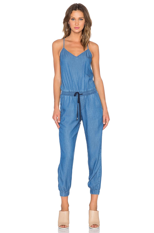 Splendid Sleeveless Stretch-Denim Jumpsuit in Blue