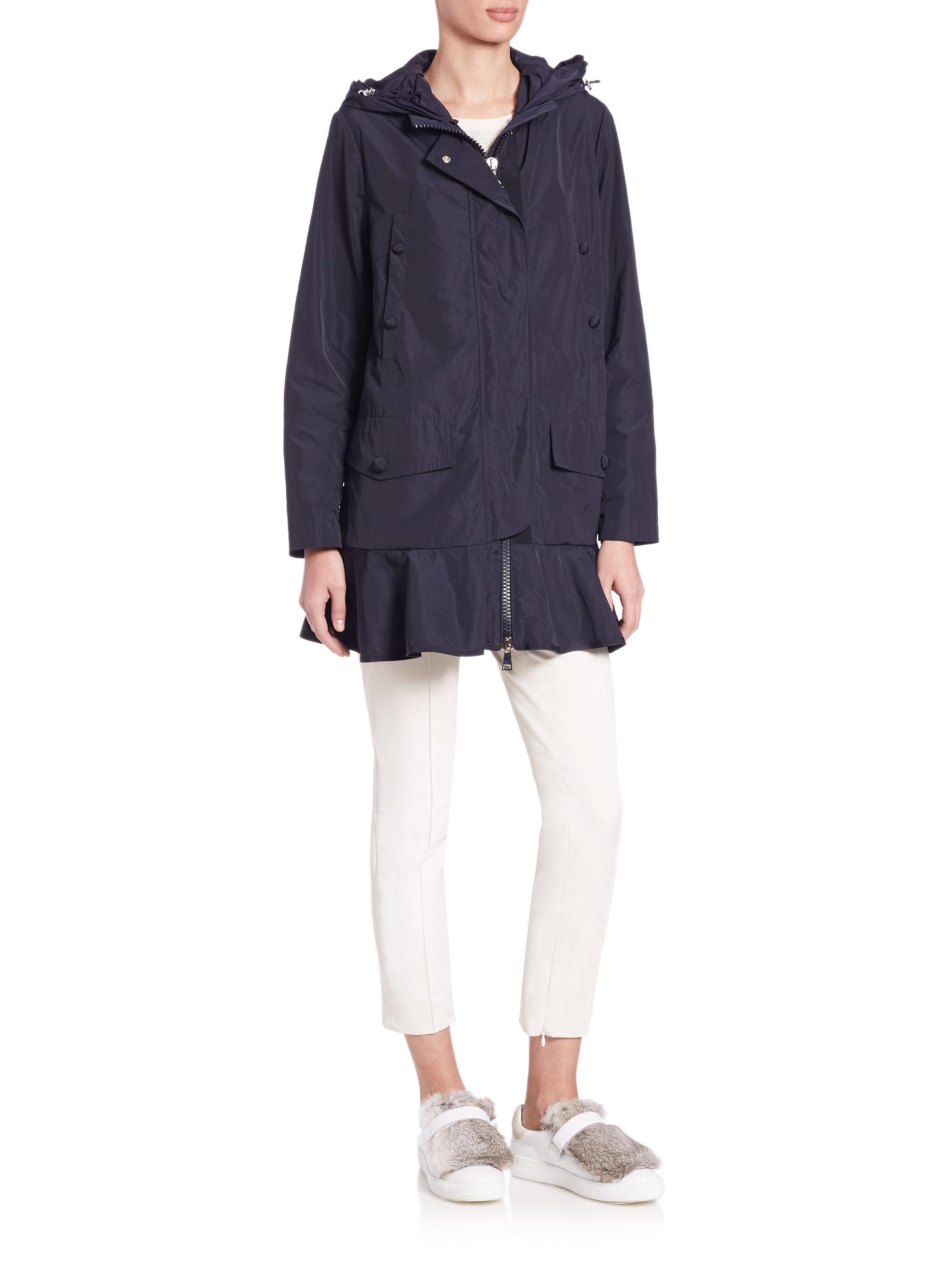 d640b1a55086 Lyst - Moncler Ruffle-hem Hooded Jacket in Blue