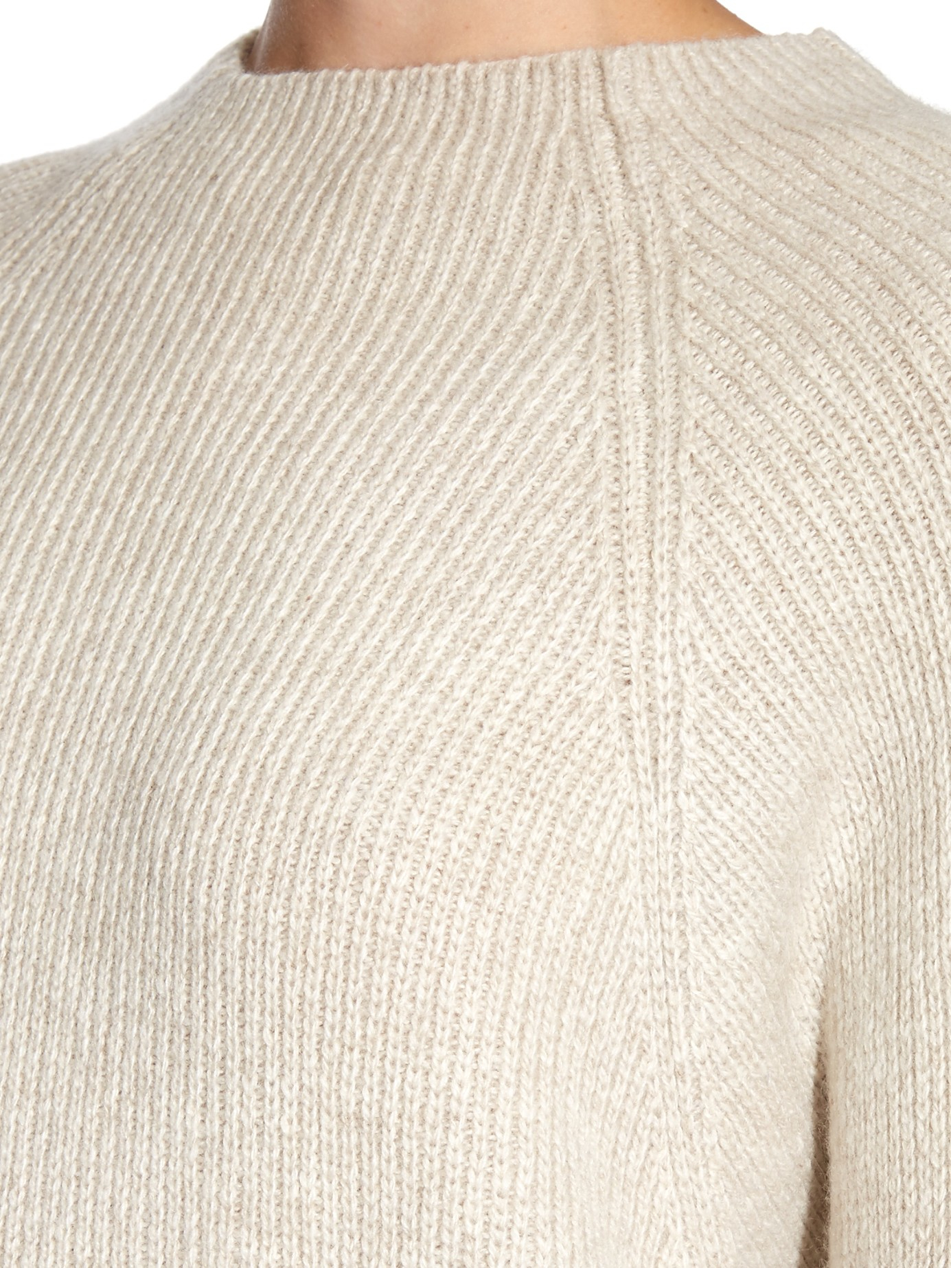 The row Kandel Cashmere Ribbed-knit Sweater in Natural | Lyst