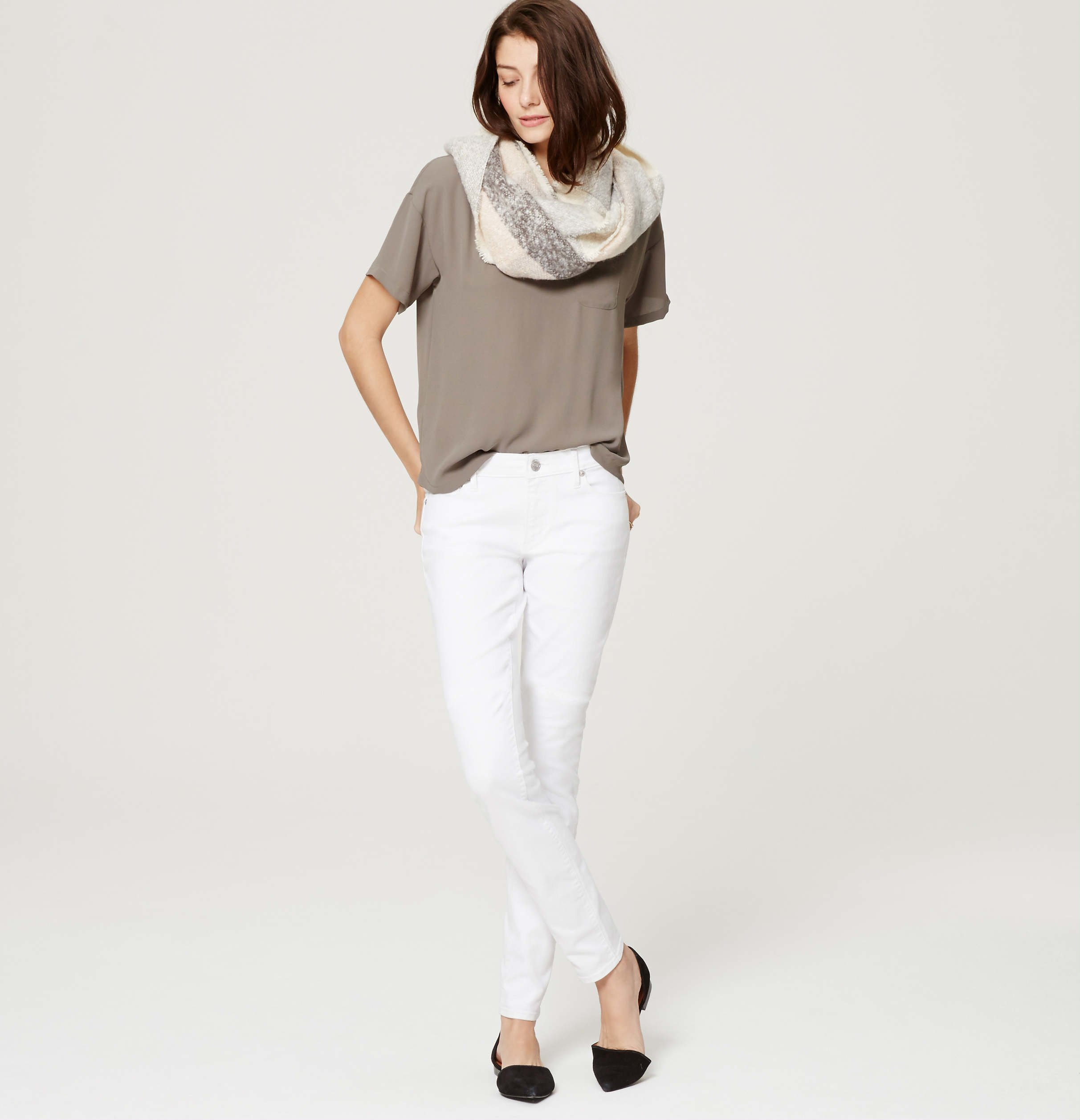 Loft Petite Curvy Skinny Jeans In White in White | Lyst