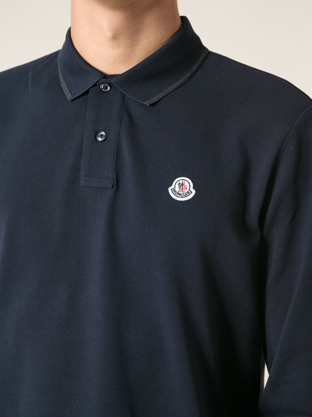 86fff056d Lyst - Moncler Long Sleeved Polo Shirt in Blue for Men