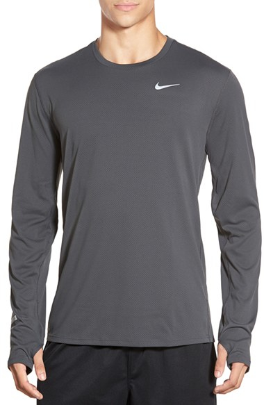 Nike contour long sleeved dri fit running t shirt in gray for Under armour dri fit long sleeve shirts