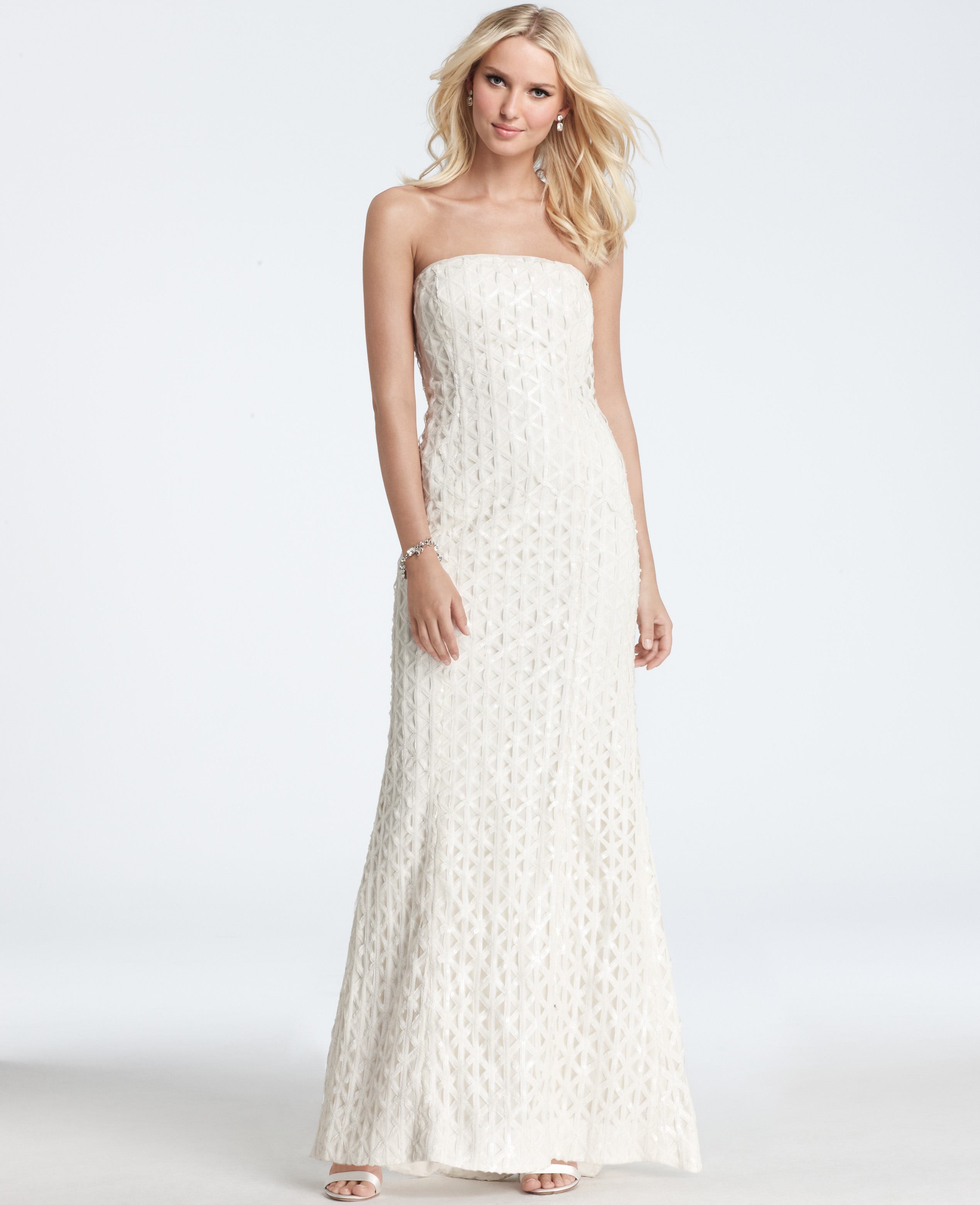 Sequin Wedding Dress: Ann Taylor Geometric Embroidered Sequin Strapless