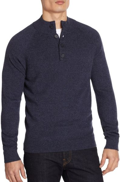 Saks Fifth Avenue Black Cashmere Buttonclose Sweater in Blue for Men