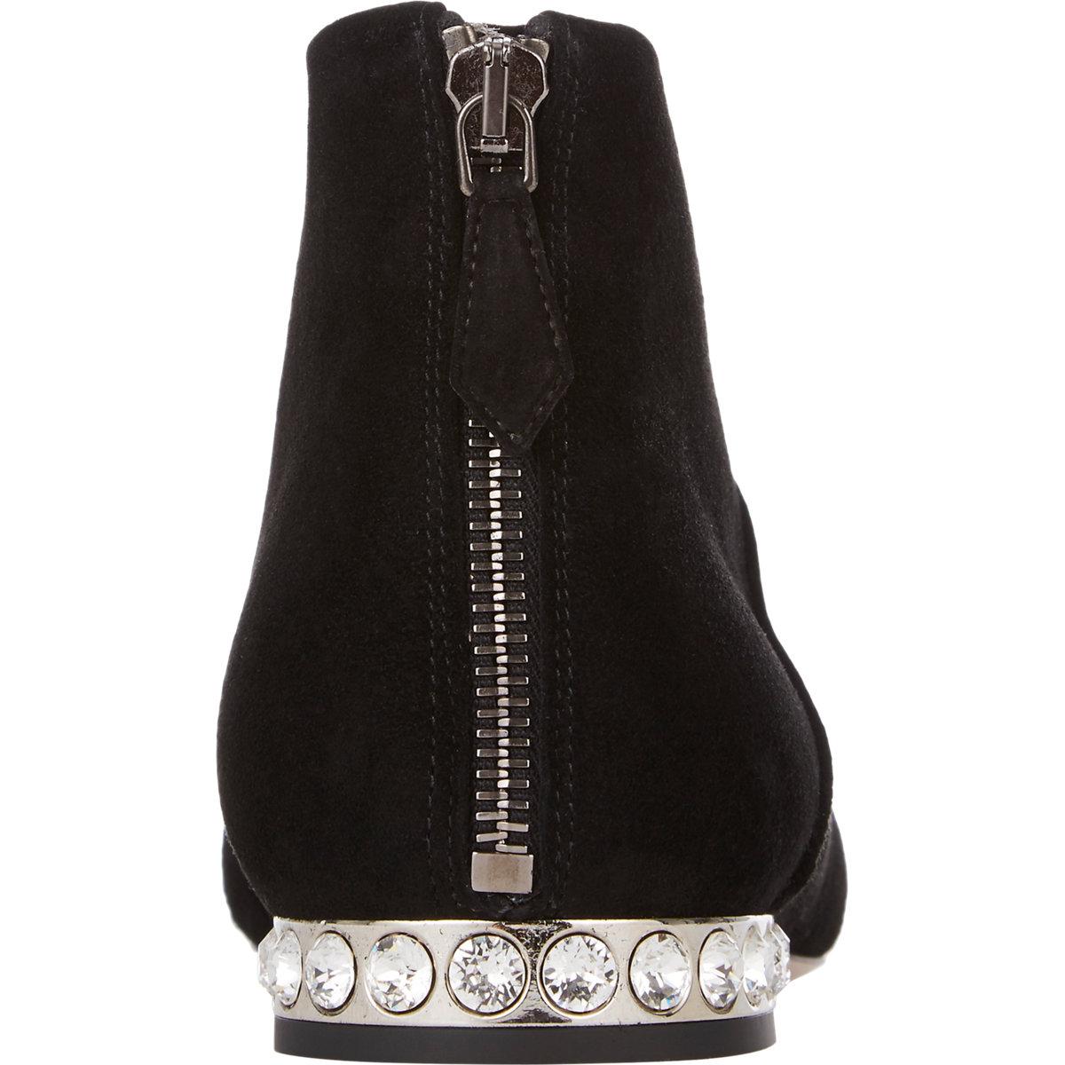 4e7aa321e5031d Lyst - Miu Miu Bejeweled Heel Ankle Boots in Black