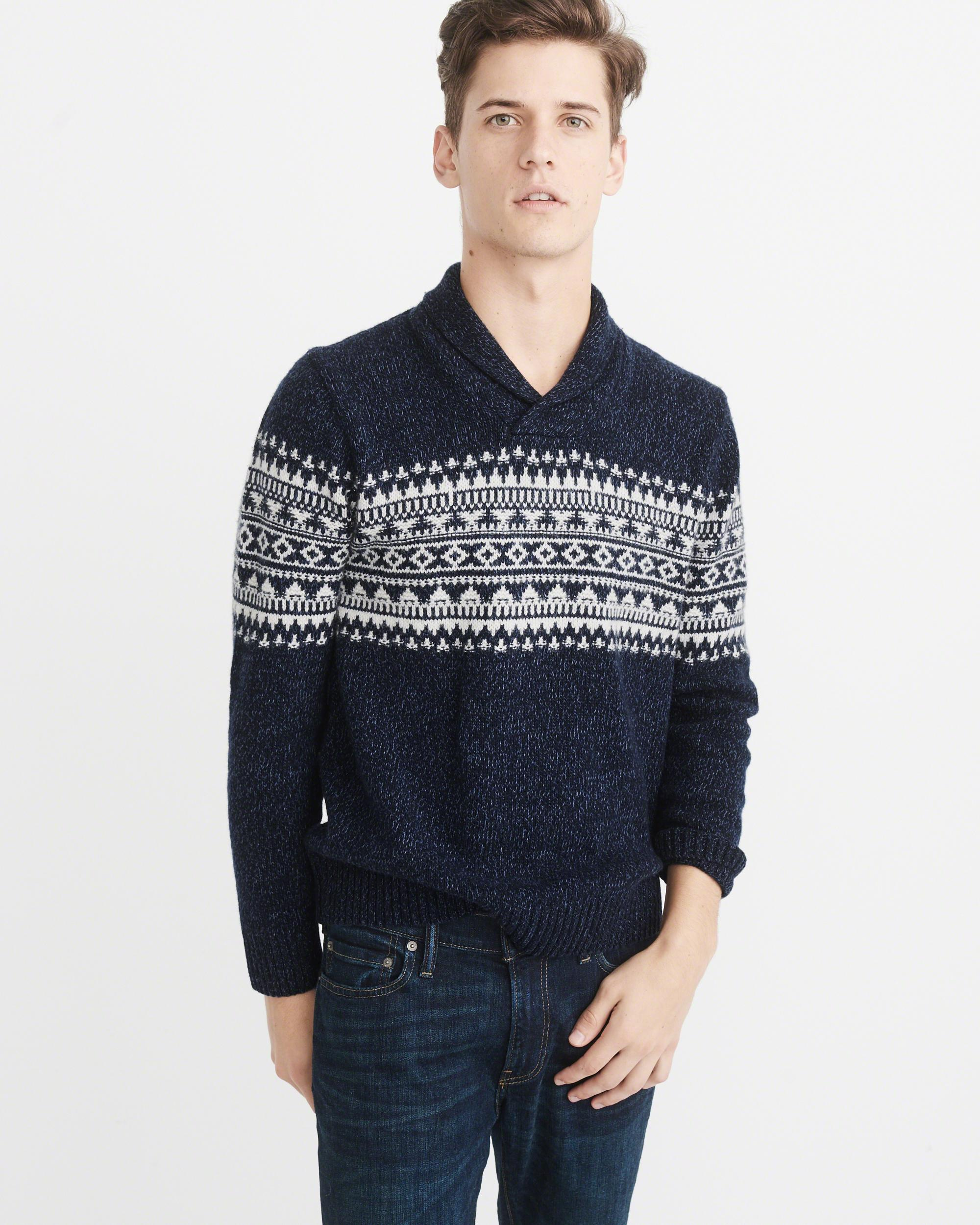 Abercrombie & fitch Fairisle Shawl Collar Sweater Exchange Color ...