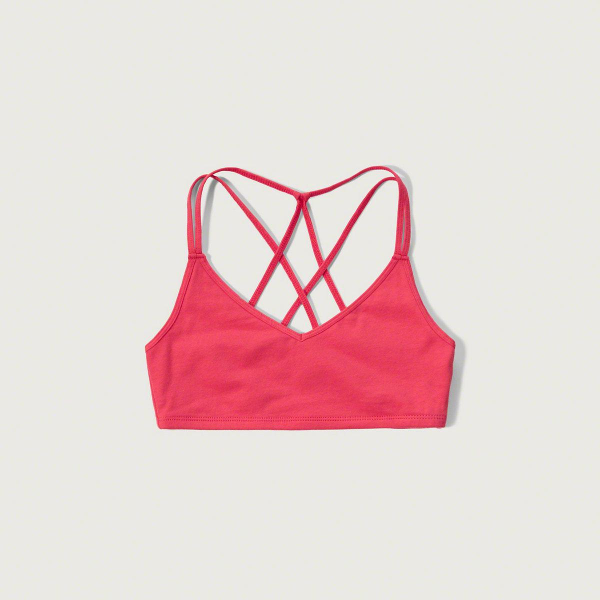 b885ca0315764 Lyst - Abercrombie   Fitch Strappy Slim Bralette in Pink