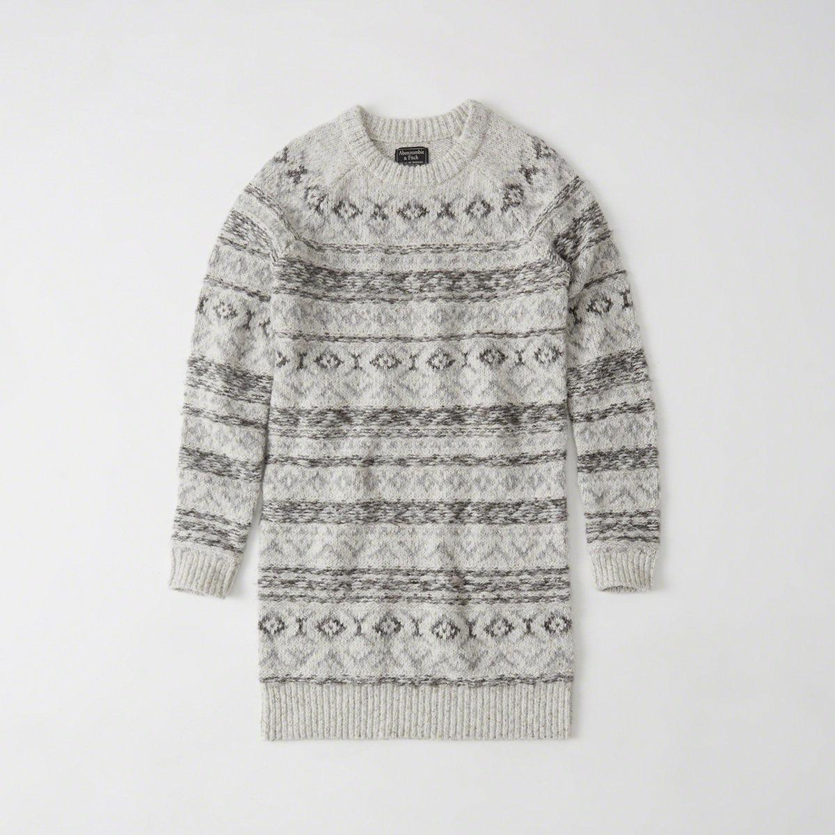 Abercrombie & fitch Fair Isle Sweater Dress in Gray | Lyst