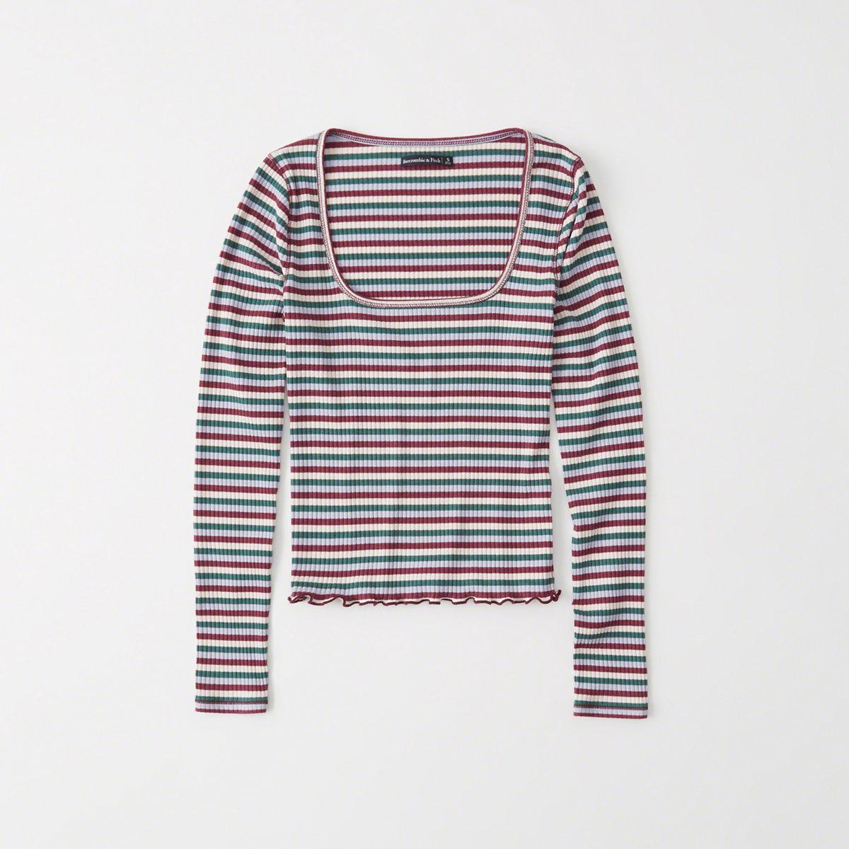397cc7066 Abercrombie & Fitch. Women's Long-sleeve Square Neck Tee