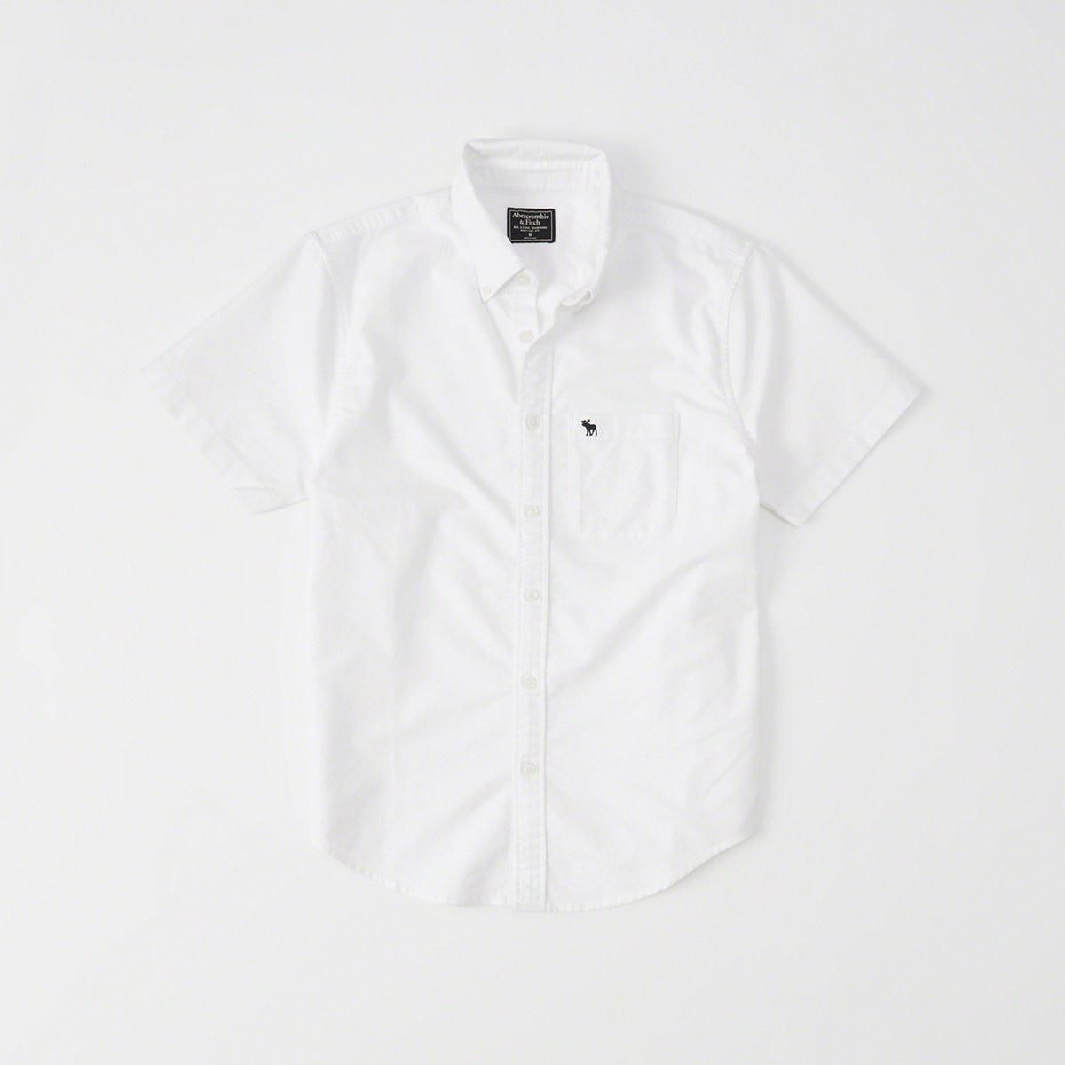 c9ceee65cc3 Lyst - Abercrombie   Fitch Icon Short-sleeve Oxford Shirt in White ...