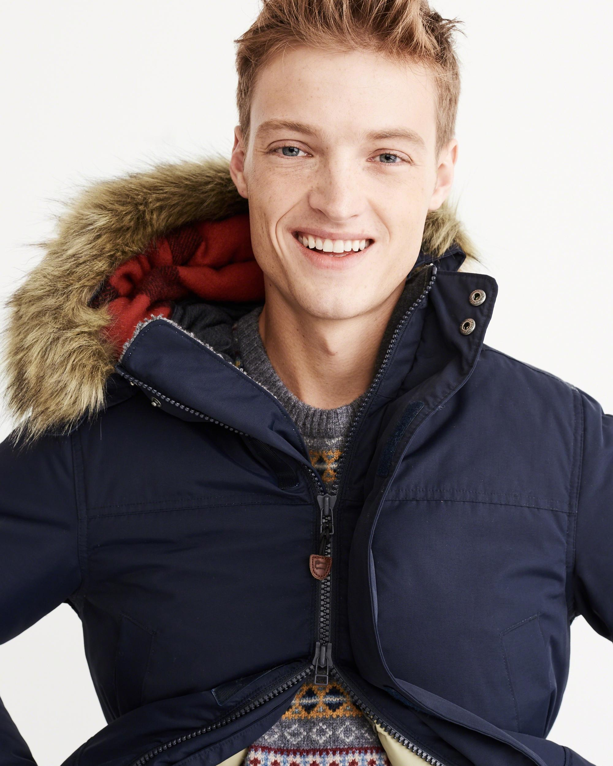 Abercrombie & fitch Woolrich Down Parka in Blue for Men