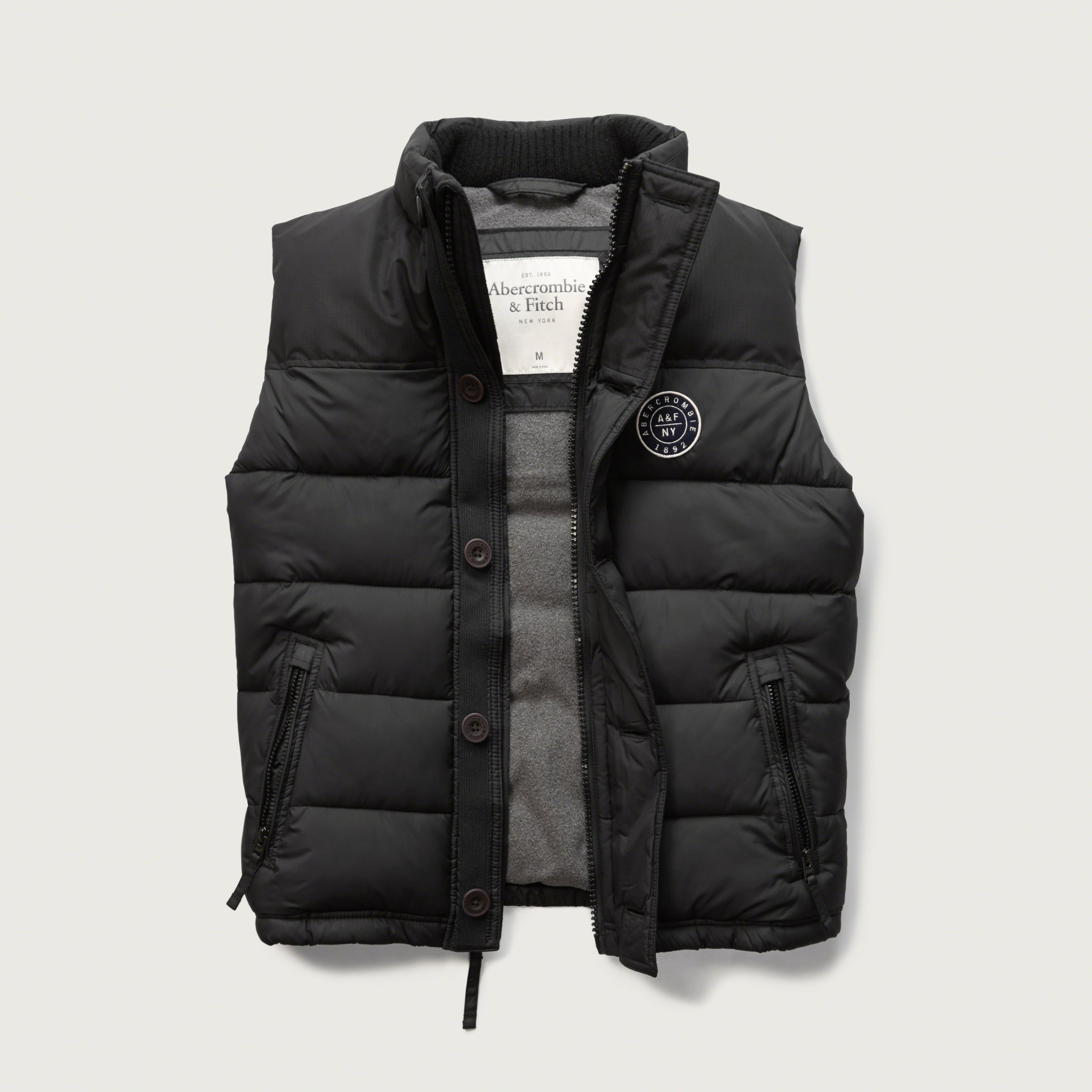 Abercrombie Amp Fitch A Amp F Puffer Vest In Black For Men Lyst