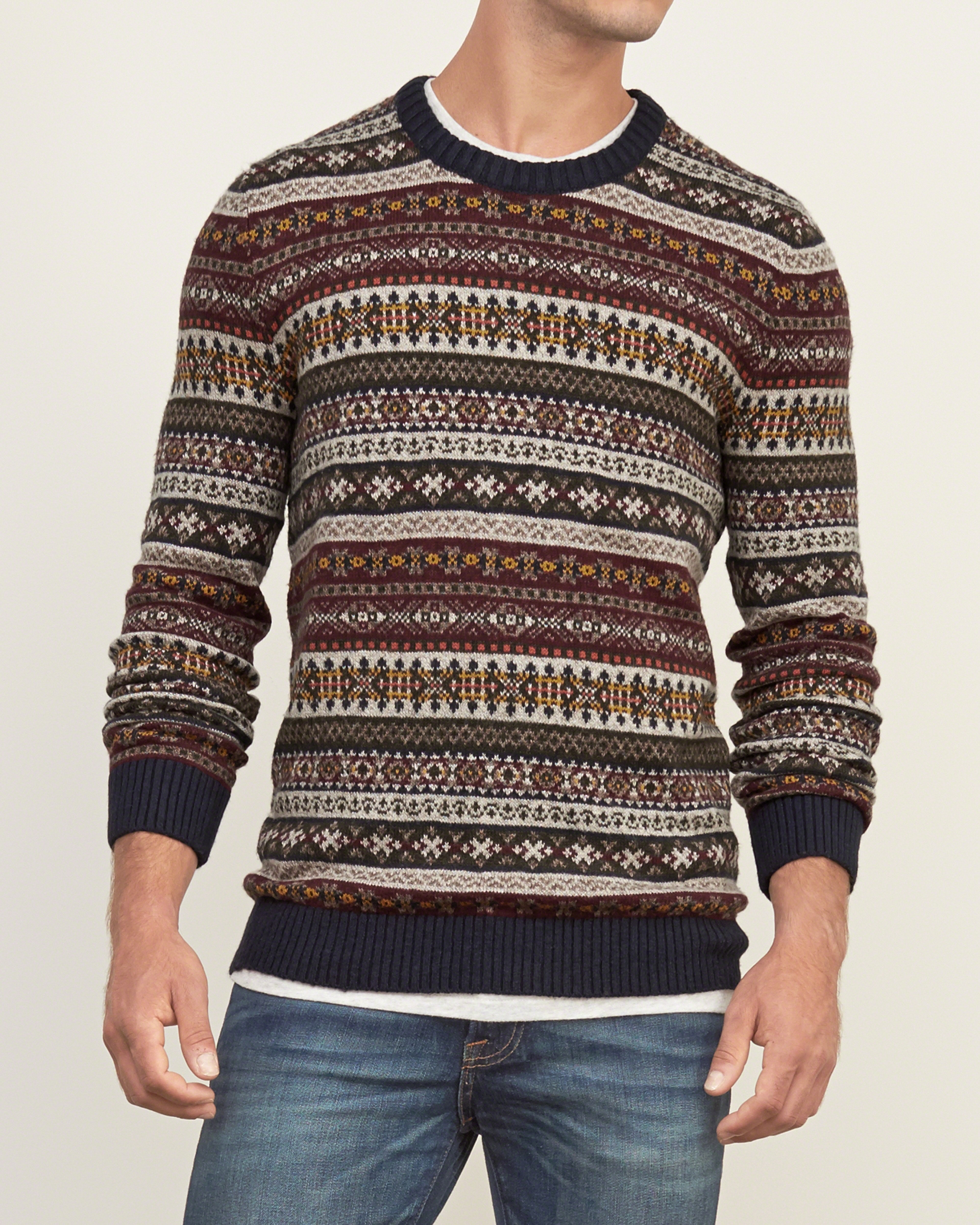 Abercrombie & fitch Fairisle Sweater in Brown for Men   Lyst