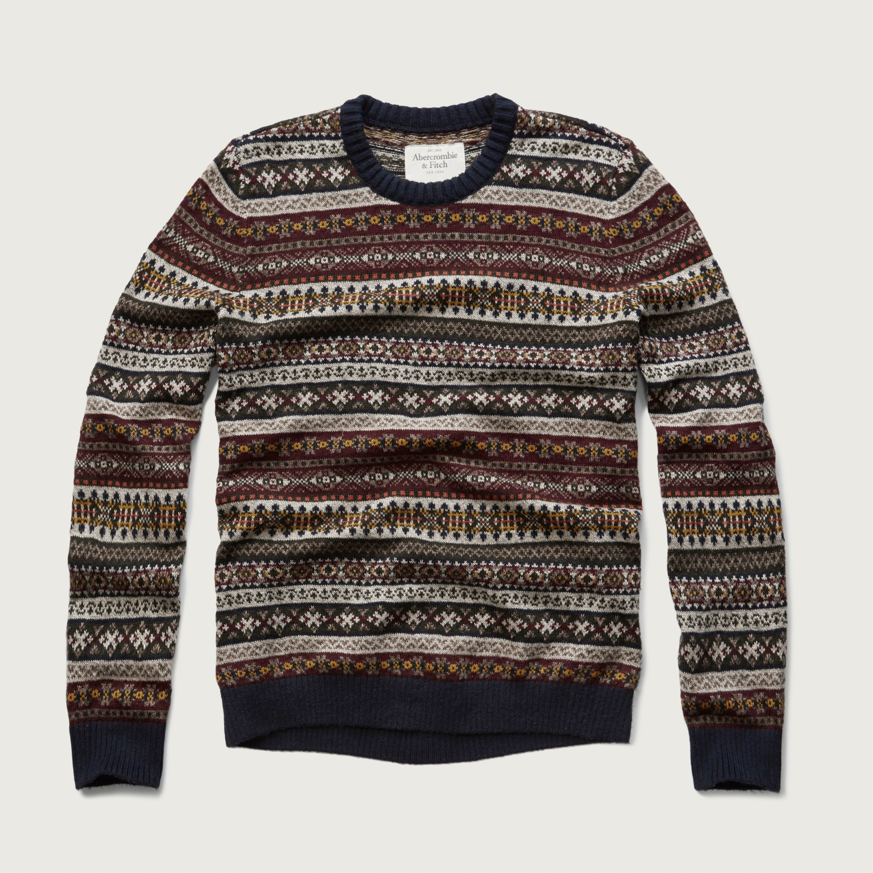 Abercrombie & fitch Fairisle Sweater in Brown for Men | Lyst