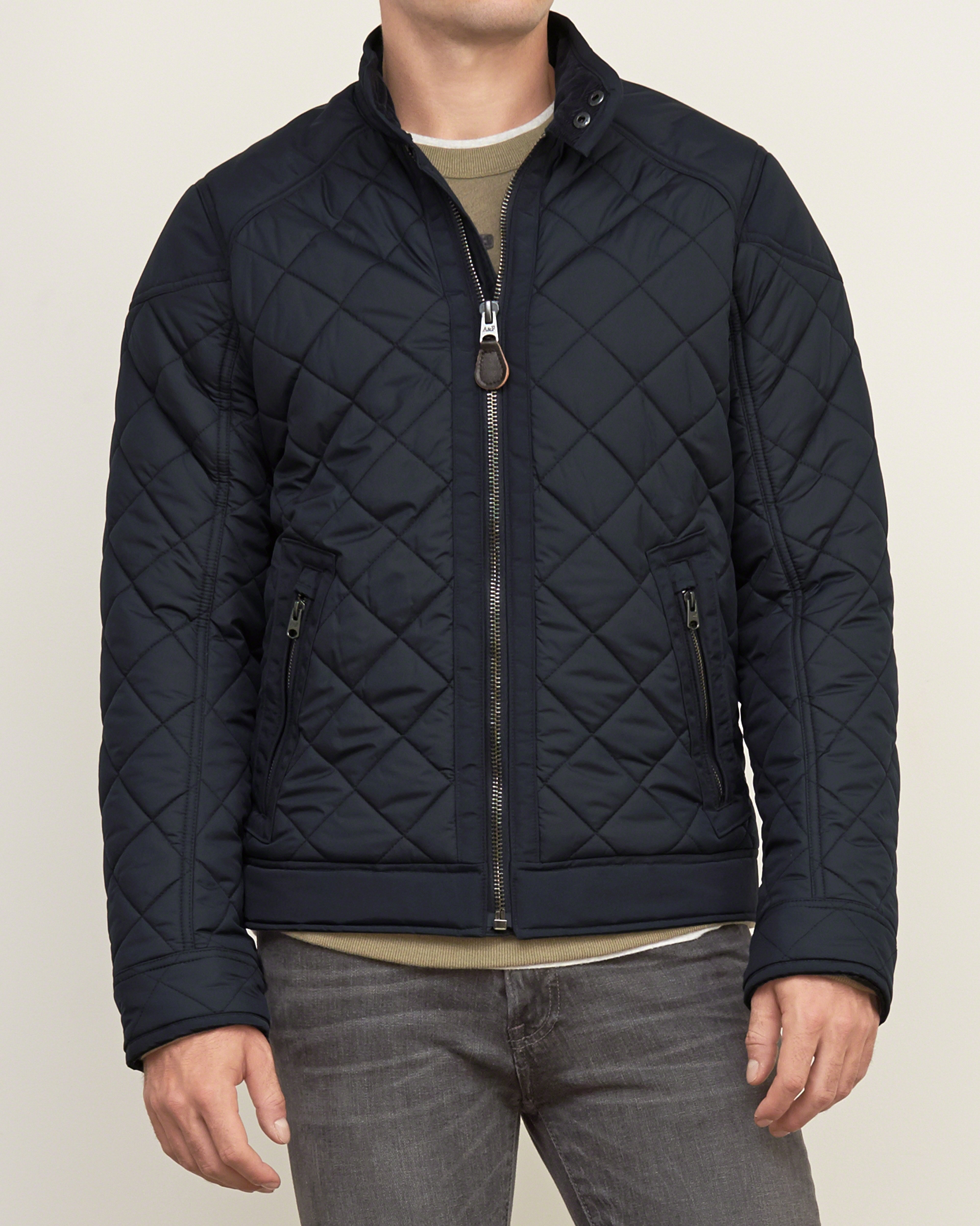 Lyst Abercrombie Amp Fitch Quilted Bomber Jacket In Black
