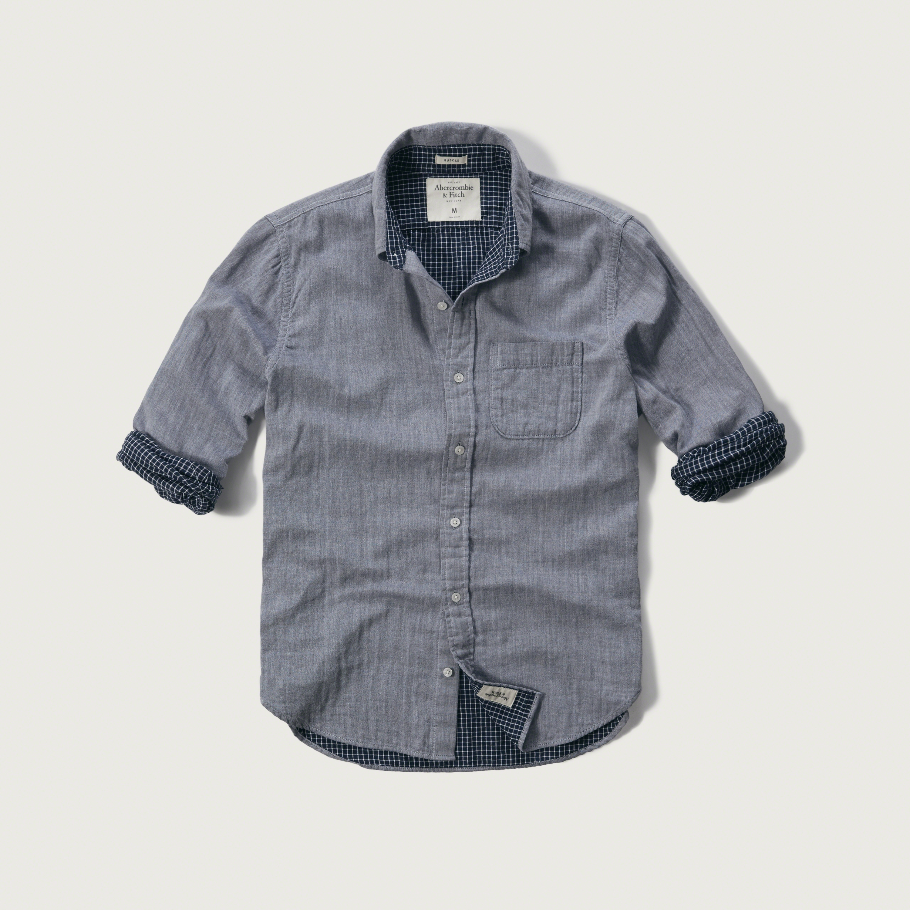 Abercrombie and fitch mens plaid shirts white navy black for Mens dress shirts black friday
