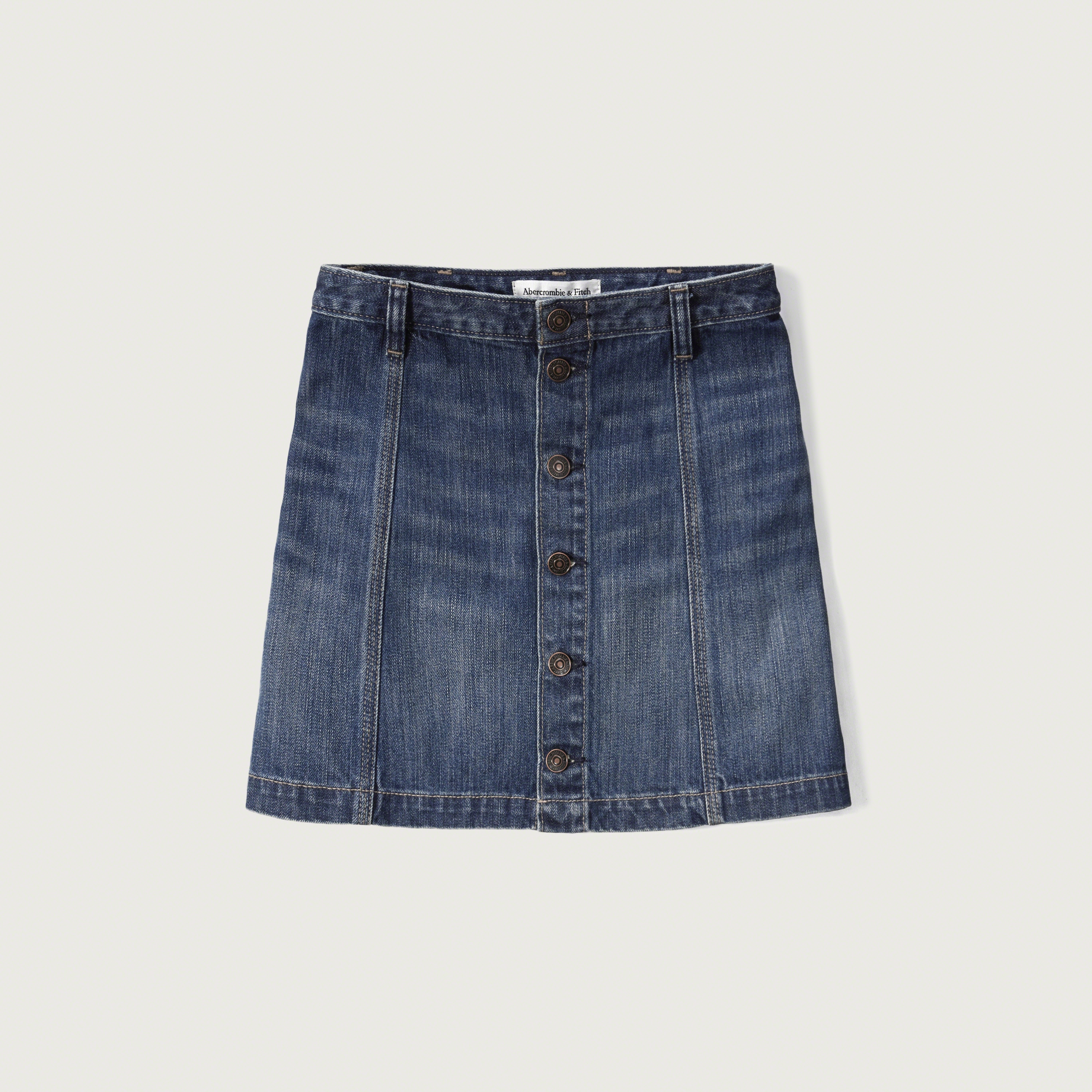 abercrombie fitch denim a line skirt in blue lyst