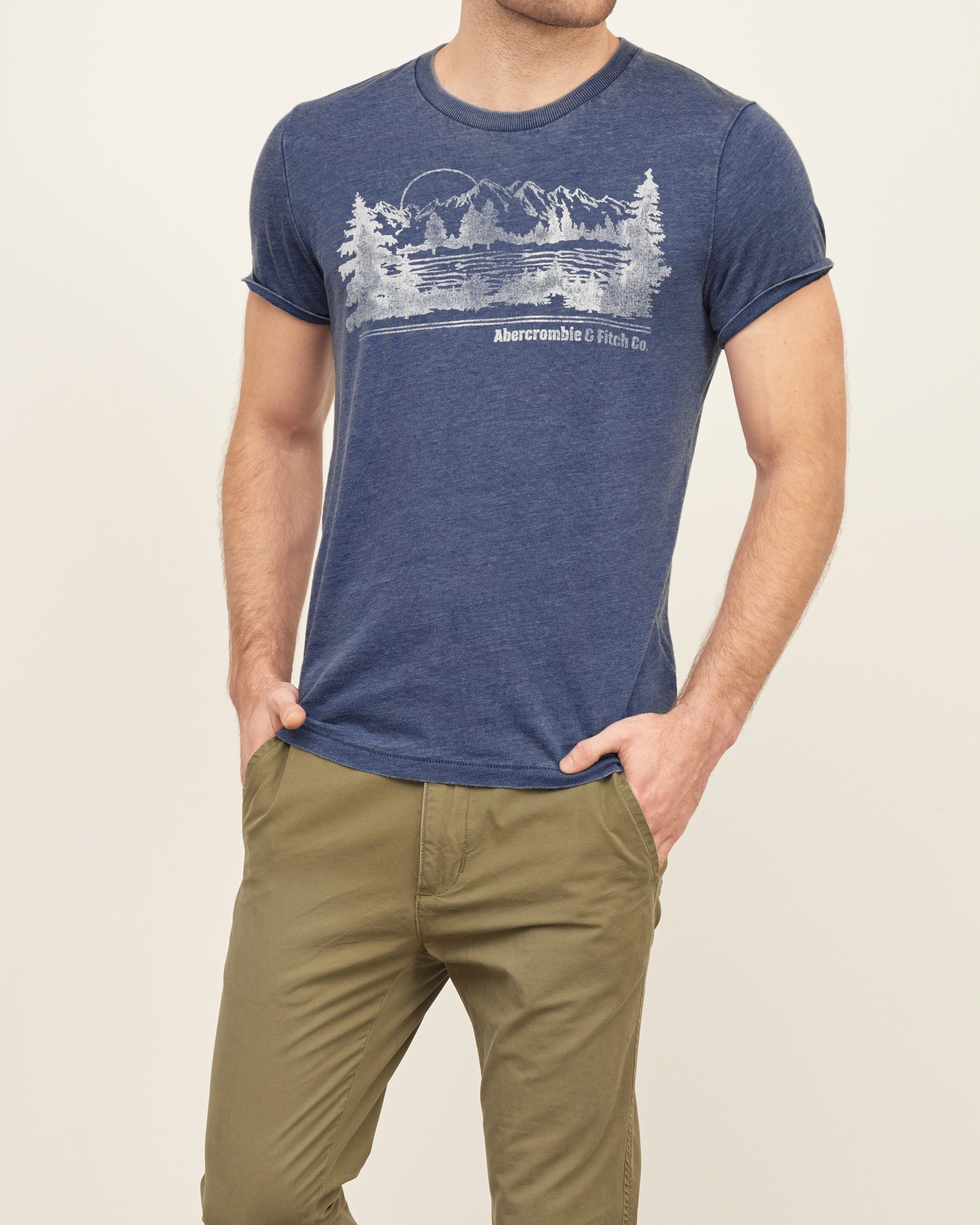 Lyst abercrombie fitch vintage logo graphic tee in for Abercrombie logo t shirt