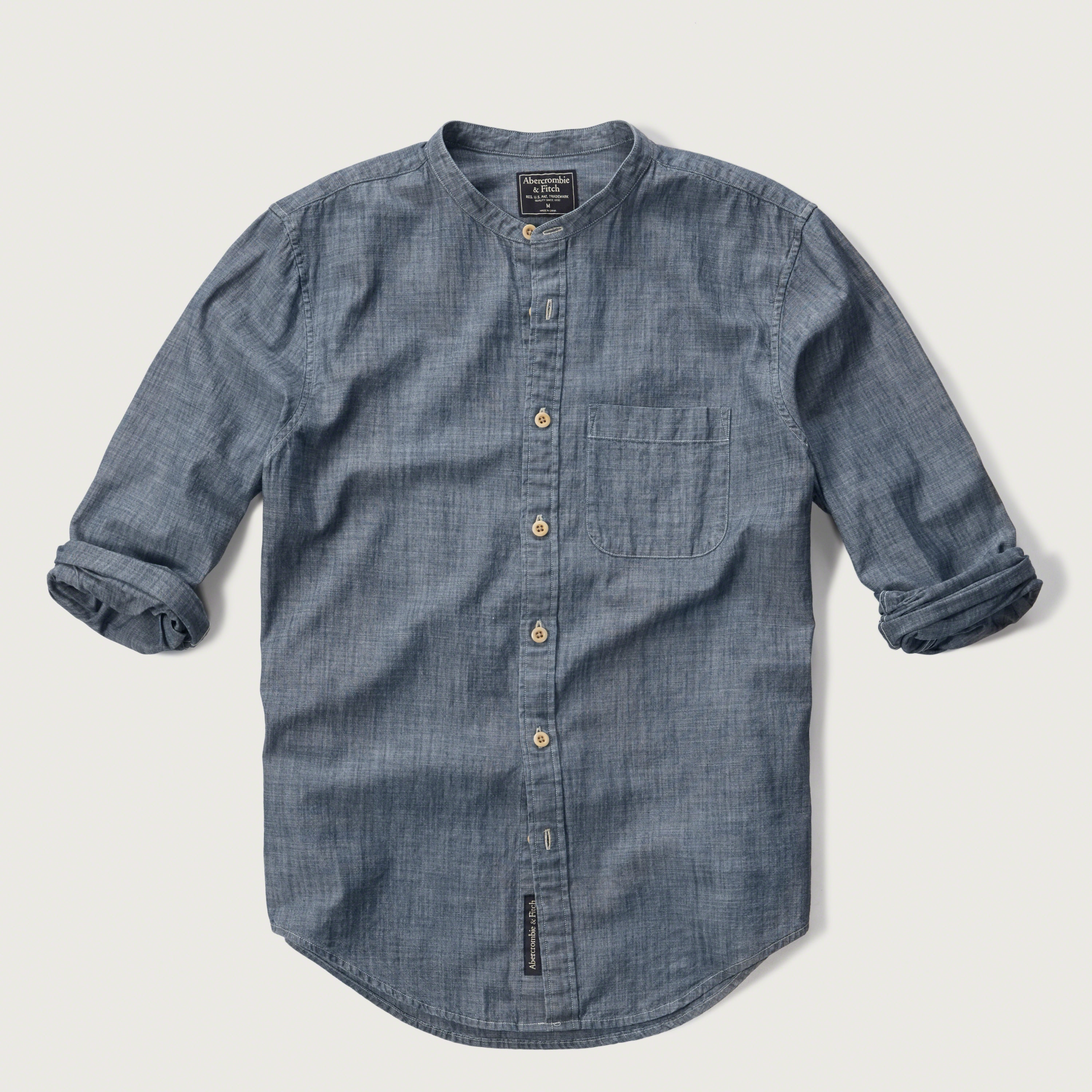 6a7a56af65e Abercrombie  amp  Fitch Chambray Band Collar Shirt in Blue ...