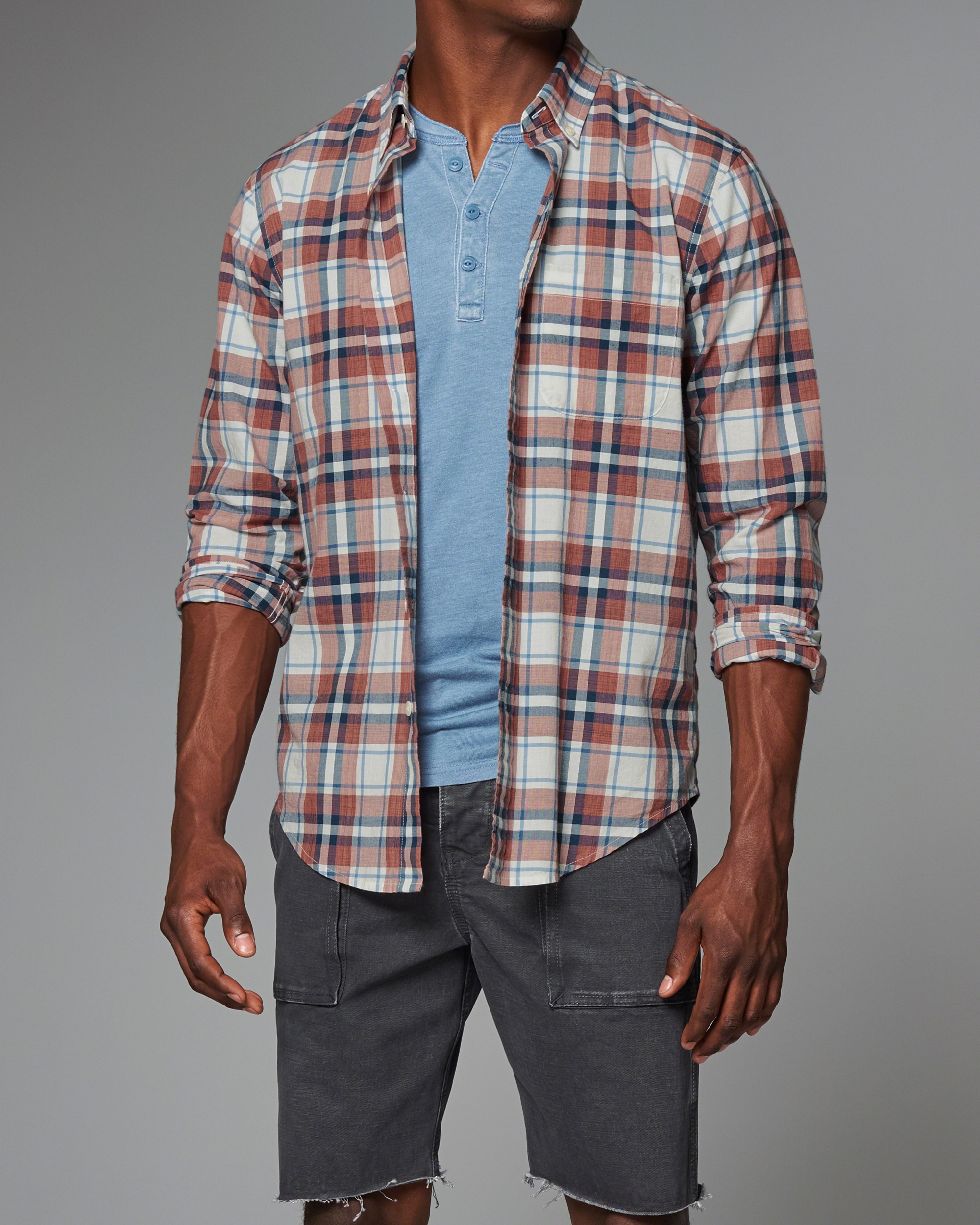 Lyst abercrombie fitch plaid madras shirt for men for Linen shirts for mens in chennai