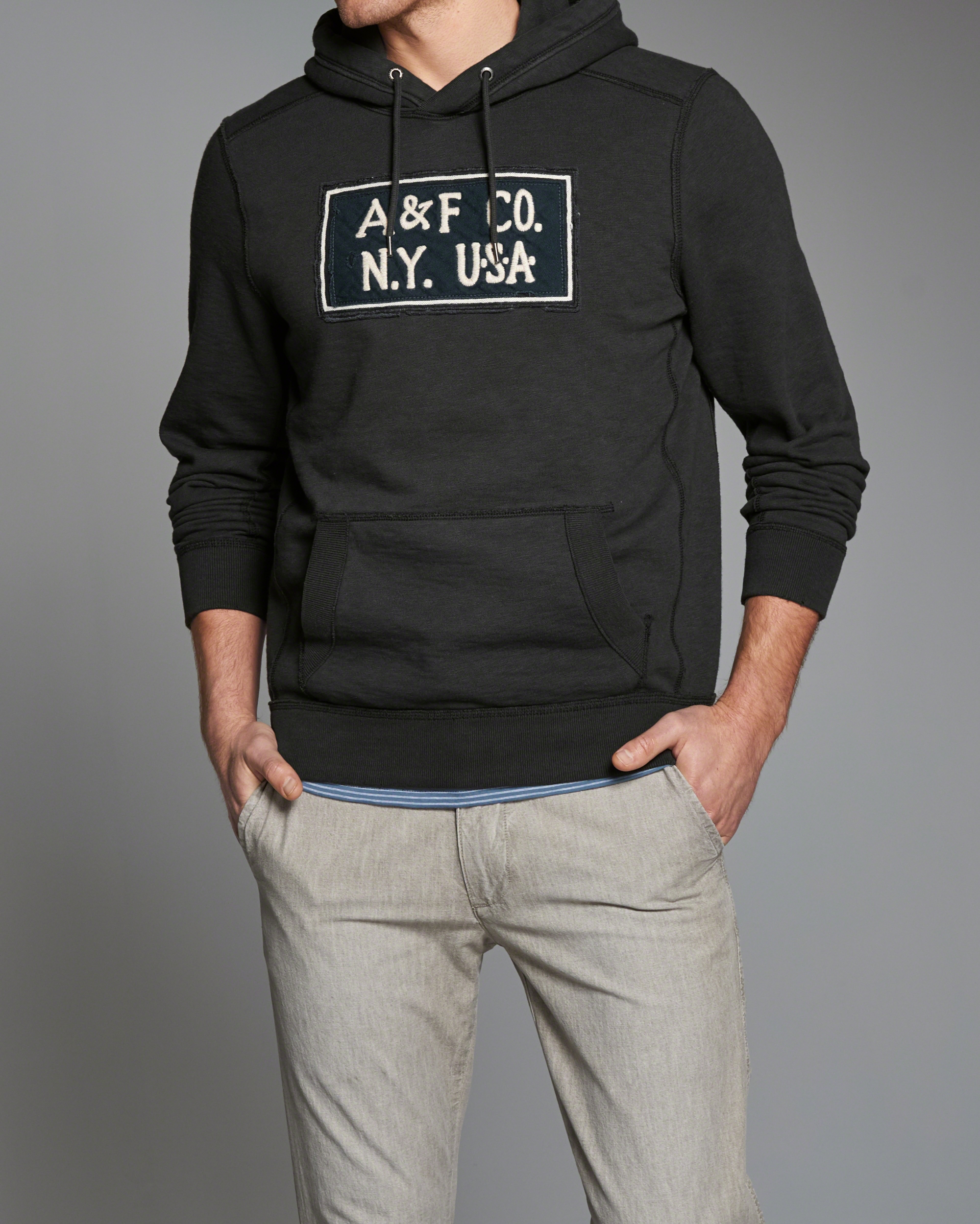 Abercrombie & Fitch Heritage Logo Hoodie In Gray For Men