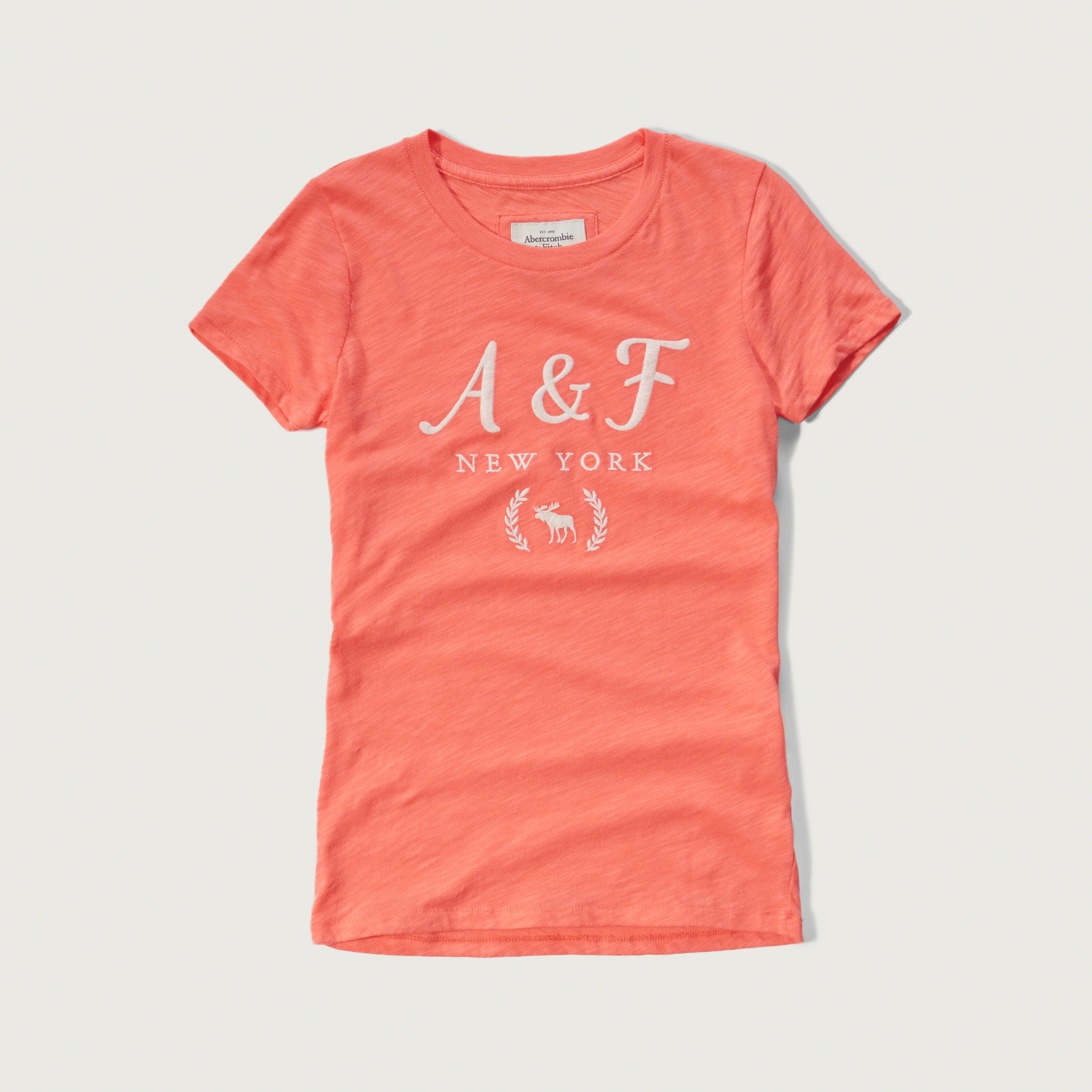 Lyst abercrombie fitch embroidered logo graphic tee for Abercrombie and fitch tee shirts